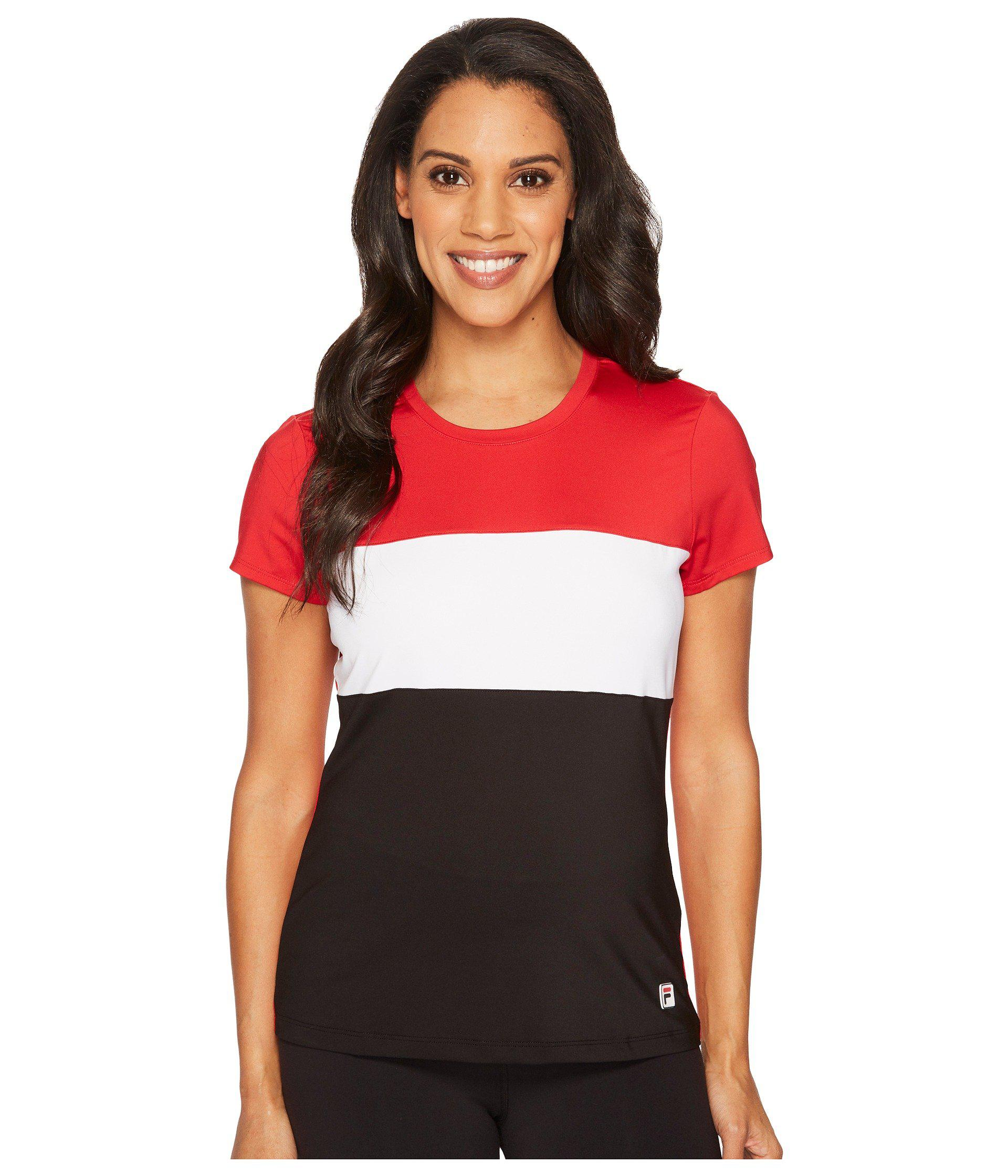 0cd5a6fa269979 Lyst - Fila Heritage Tennis Cap Sleeve Top in Red
