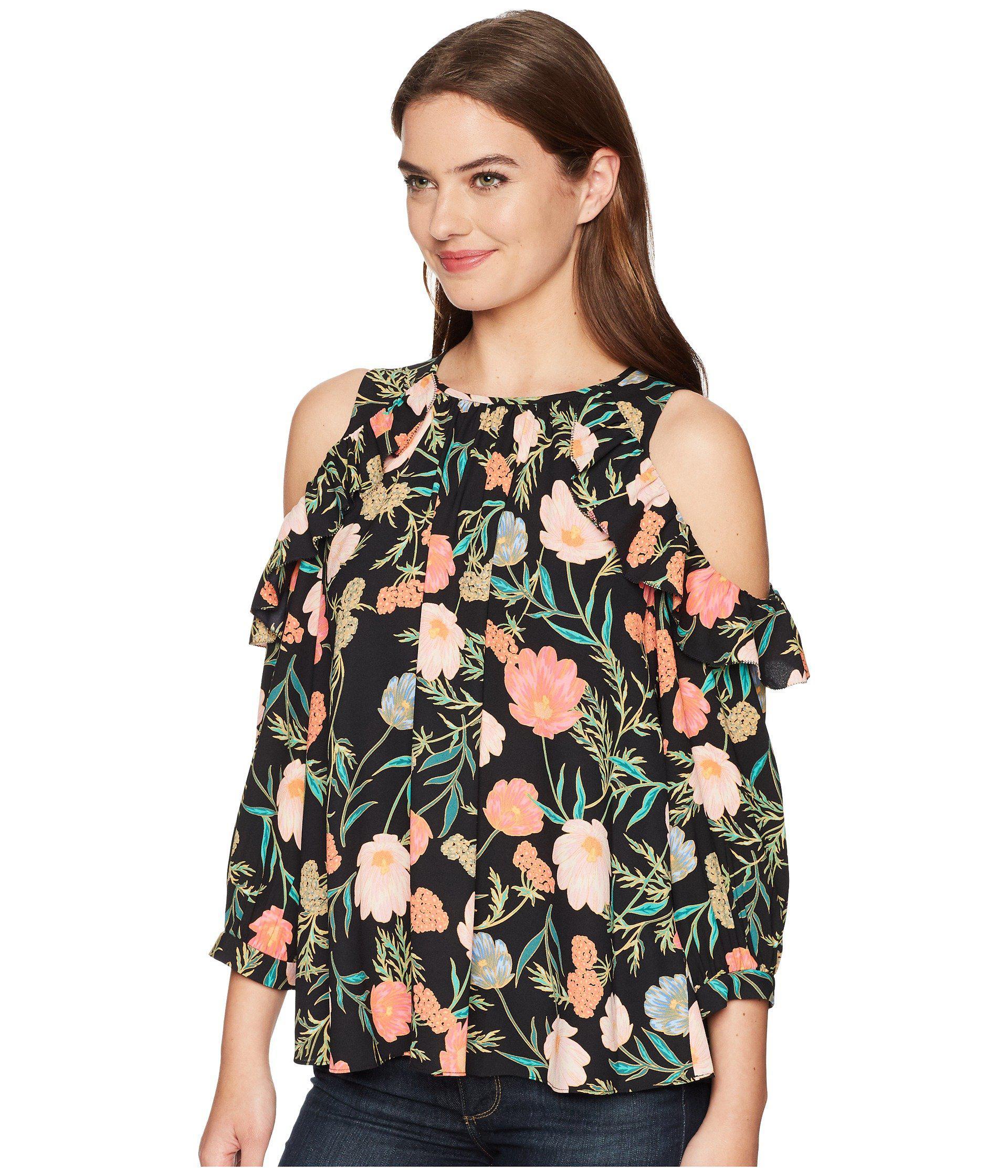 216c77fd463 Kate Spade - Black Blossom Cold Shoulder Top - Lyst. View fullscreen