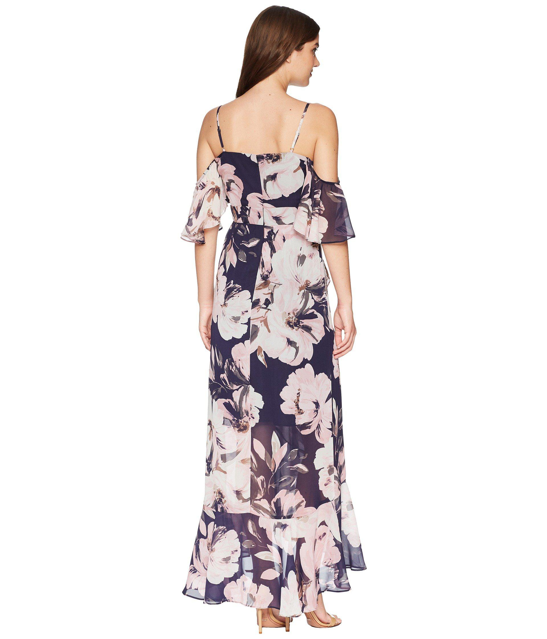 f30989b0f Vince Camuto Printed Chiffon Cold Shoulder Maxi Dress With Ruffled ...