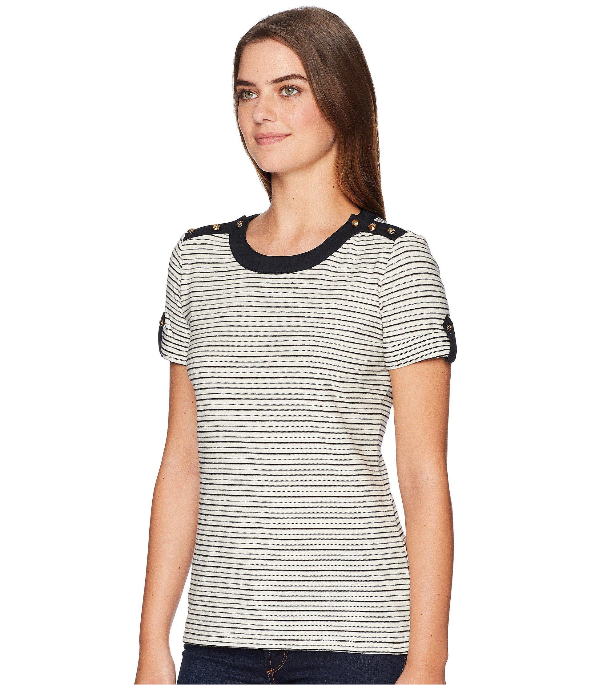 7d822c73 Lyst - Lauren by Ralph Lauren Striped Button-shoulder Top in Black - Save  59%