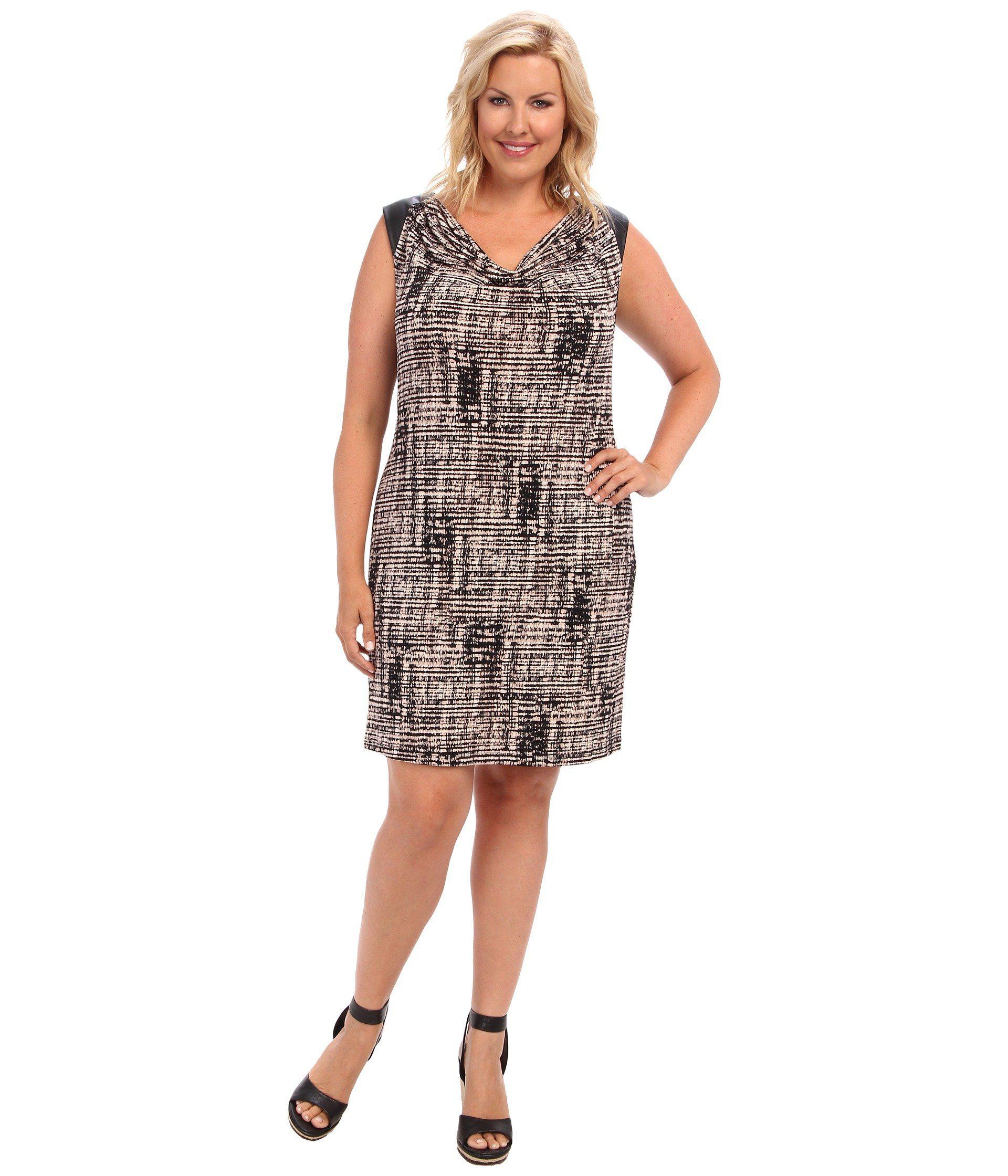 63057c7dd5ee Lyst - Calvin Klein Plus Size Short Sleeve Dress W/ Pu Shoulder