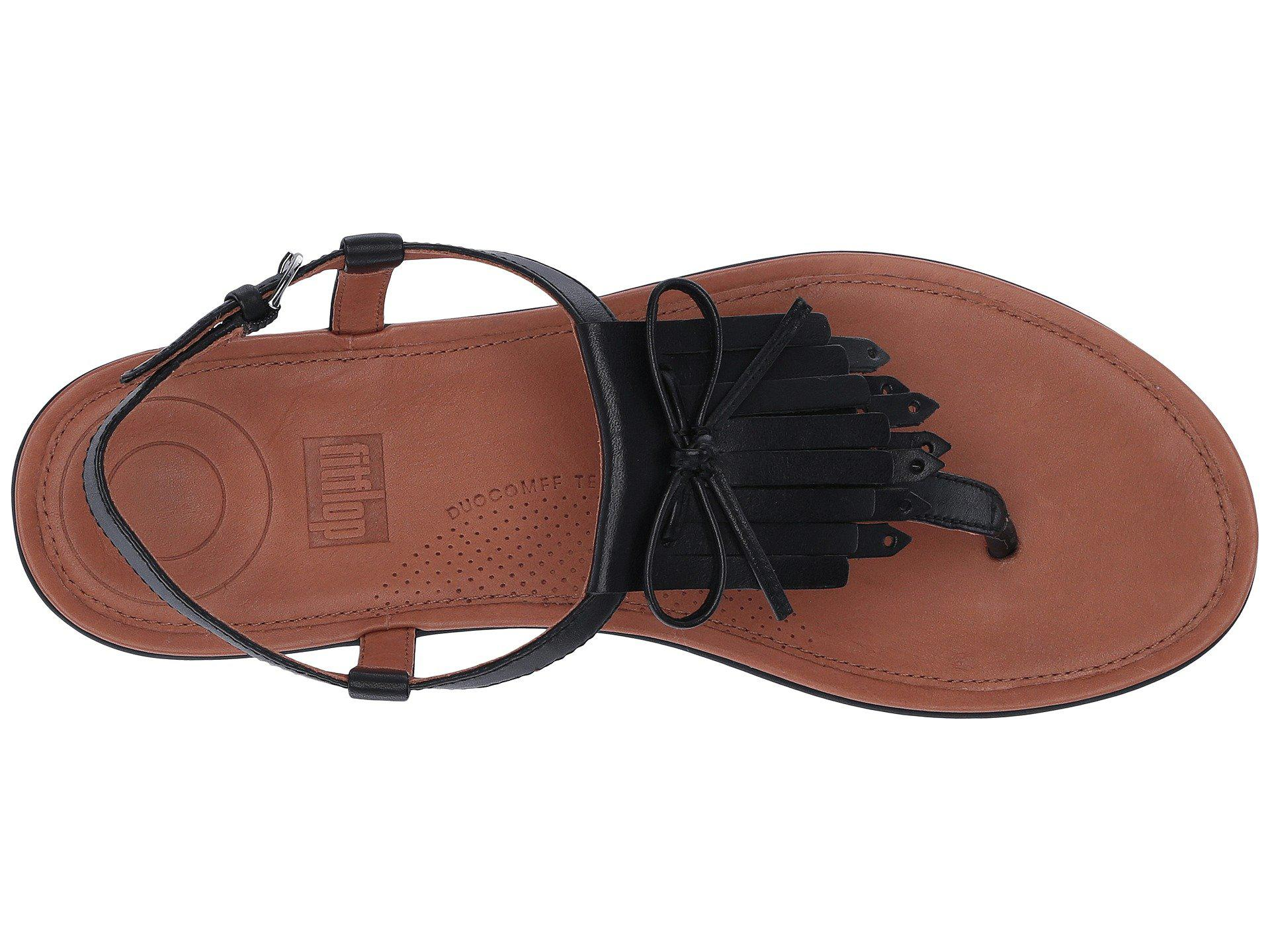76fdff8cfb5371 Lyst - Fitflop Tia Fringe Toe Thong Sandal in Black