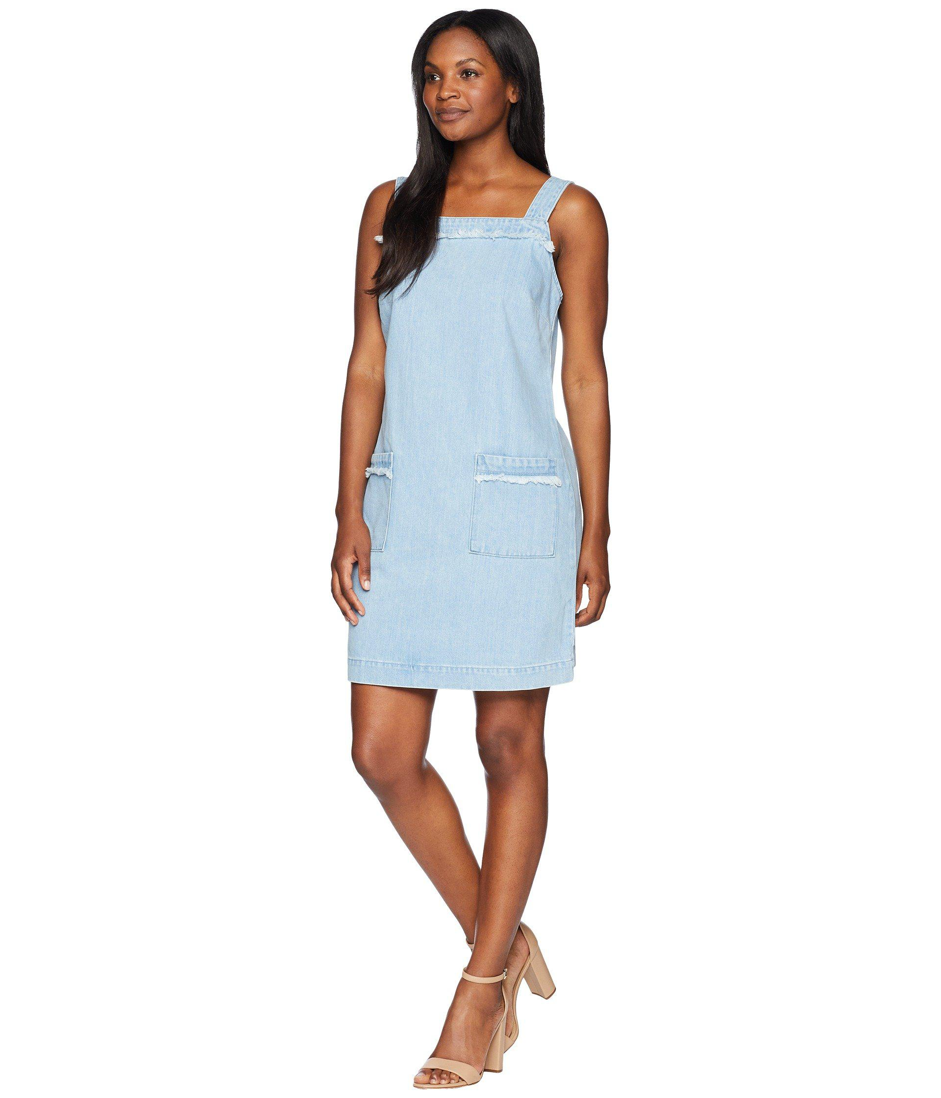 92089ff184 Lyst - Two By Vince Camuto Sleeveless Frayed Edge Two-pocket Classic Denim  Dress in Blue - Save 42%