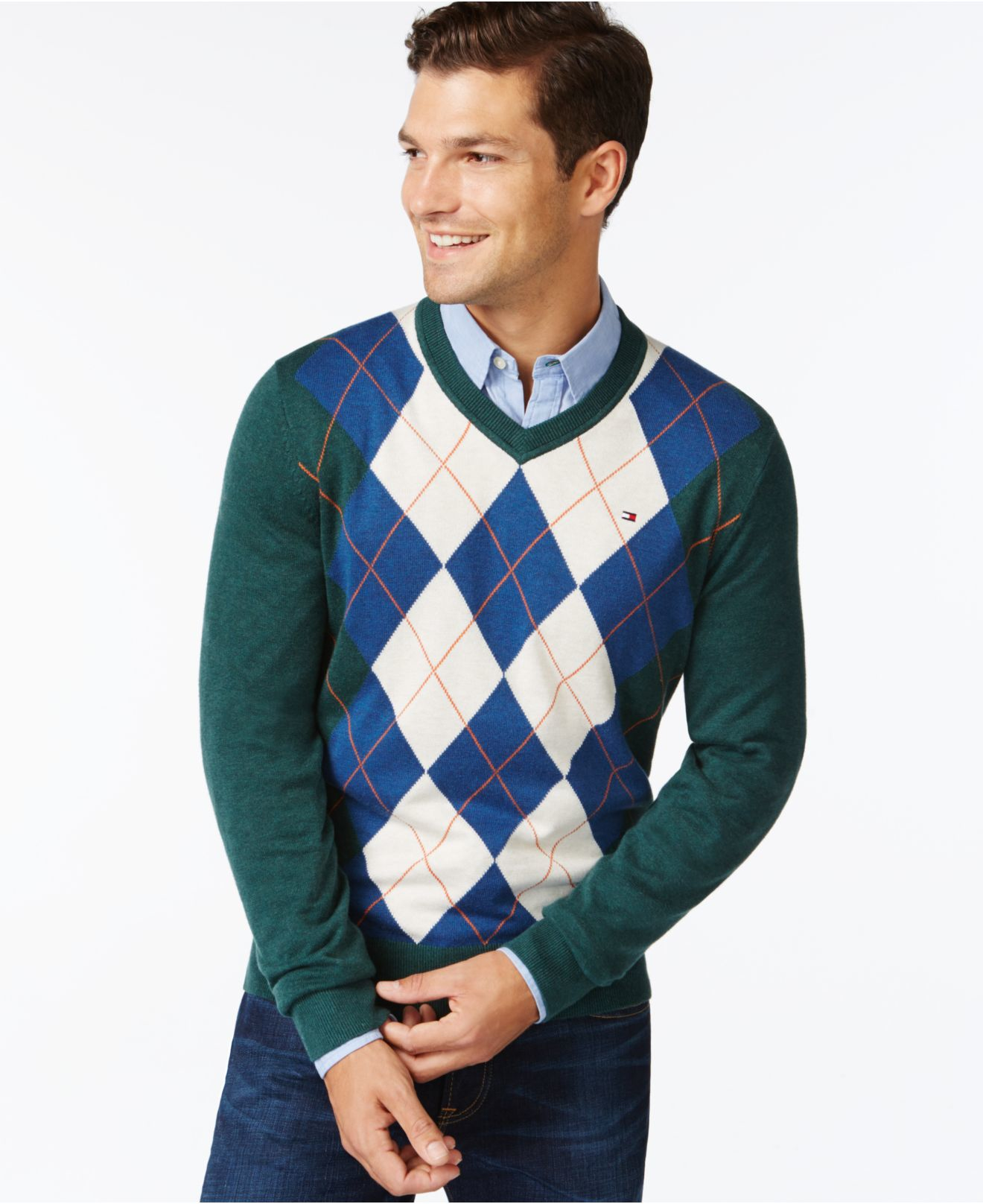 Tommy hilfiger Signature Argyle V-neck Sweater in Green for Men | Lyst