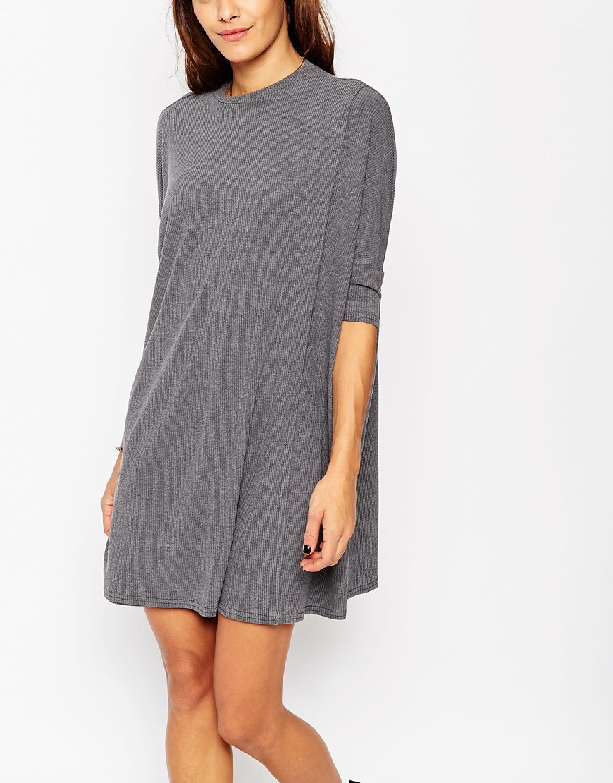 Asos rib t shirt dress in gray lyst for Asos design free t shirt