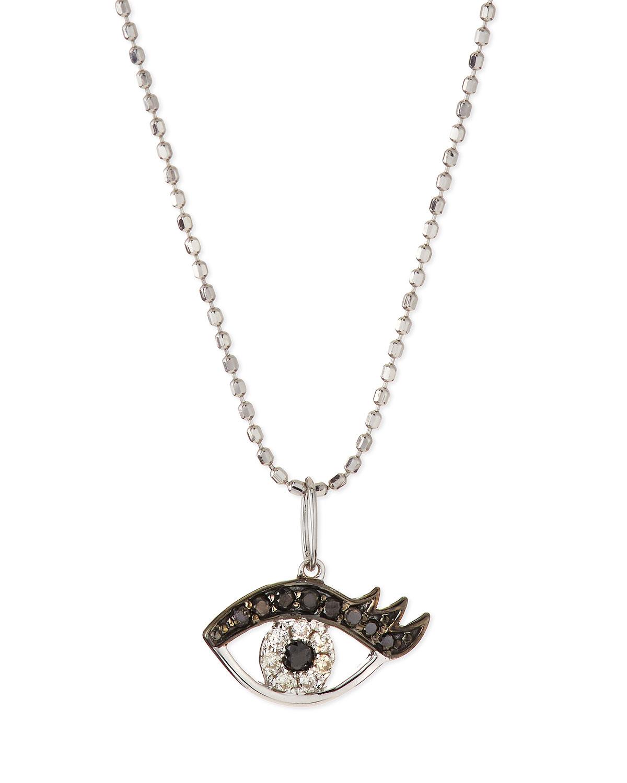 sydney evan 14k white gold eyelash evil eye pendant