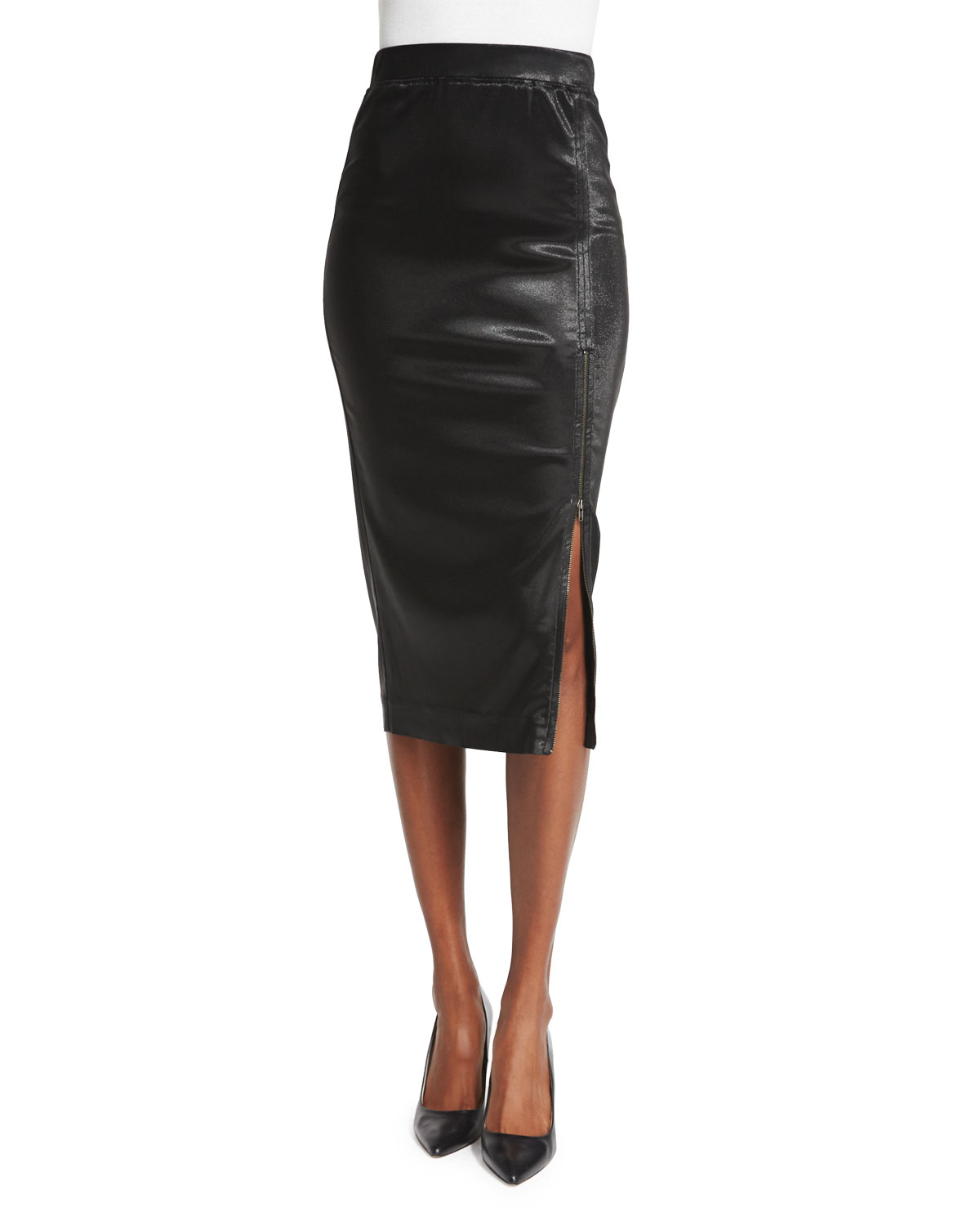 atm sparkle zip pencil skirt in black lyst