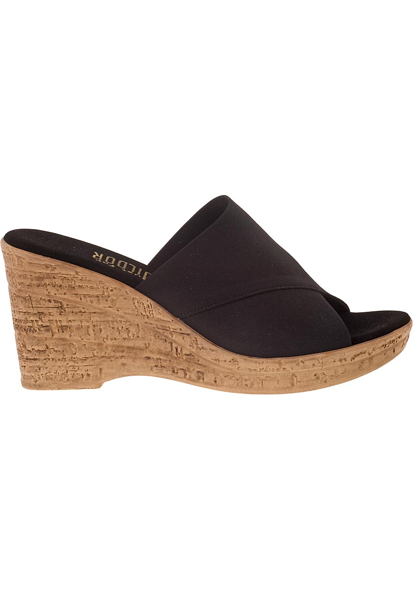 onex for jildor wedge sandal black fabric in