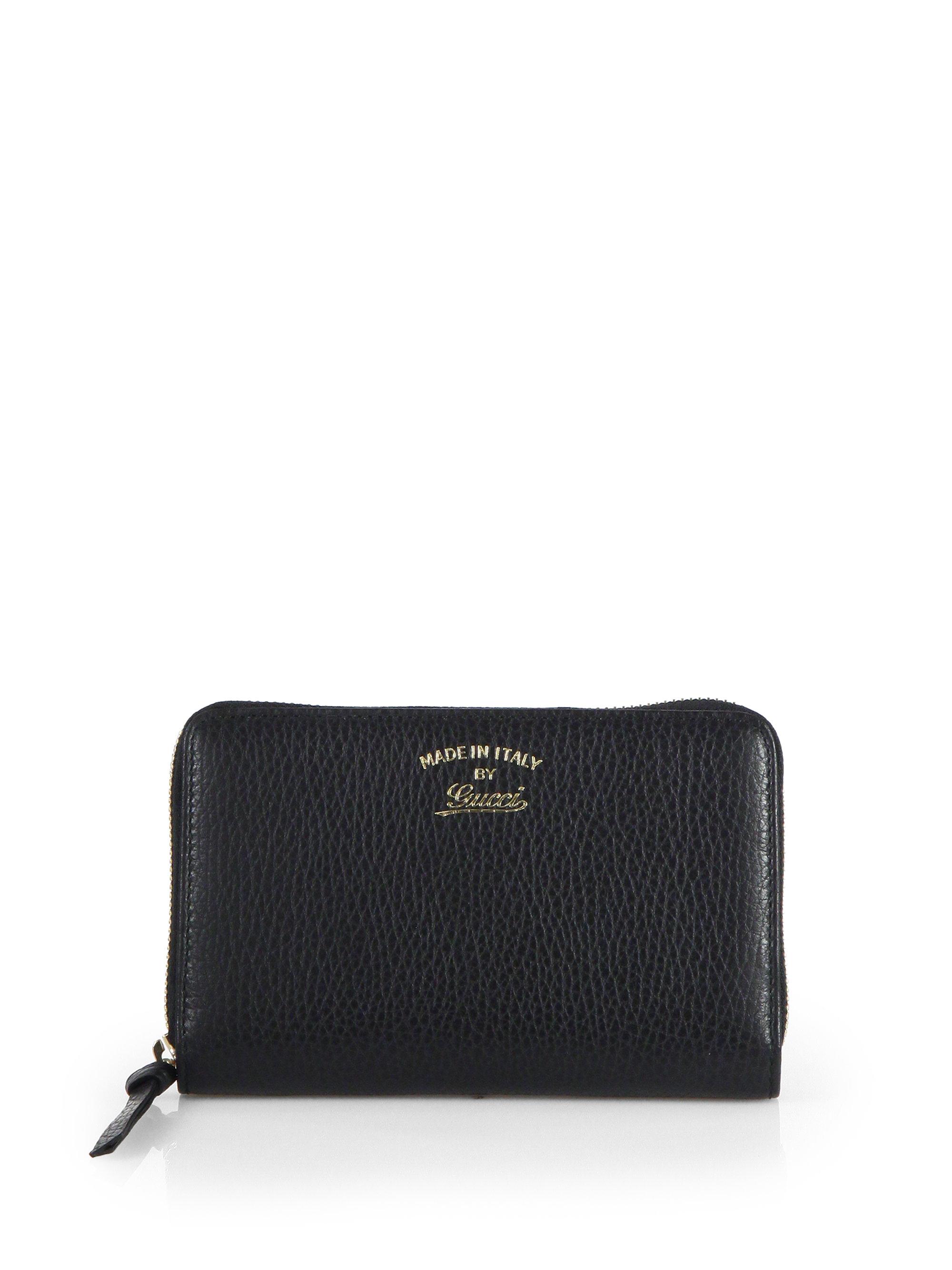 7dd7659781f7 Lyst - Gucci Swing Leather Zip-around Wallet in Black