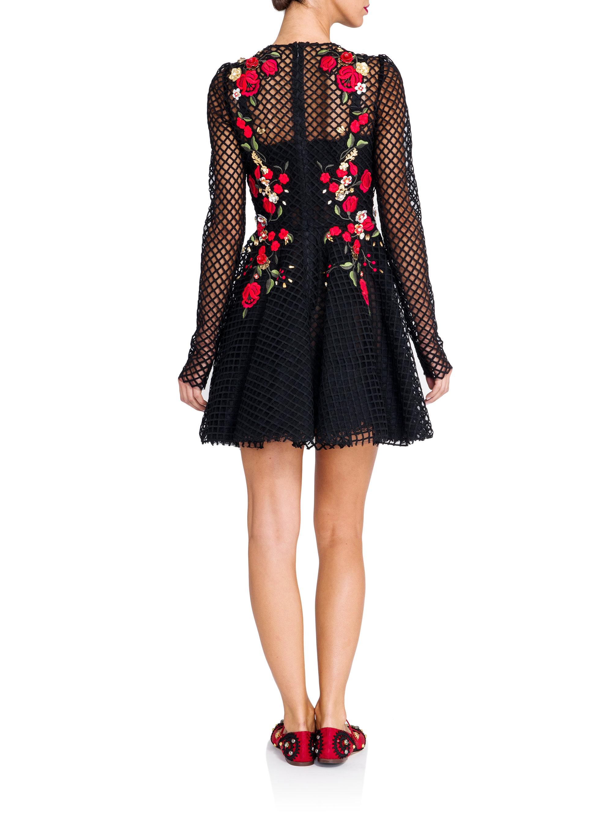 Dolce Amp Gabbana Sacred Heart Embroidered Net Dress Lyst