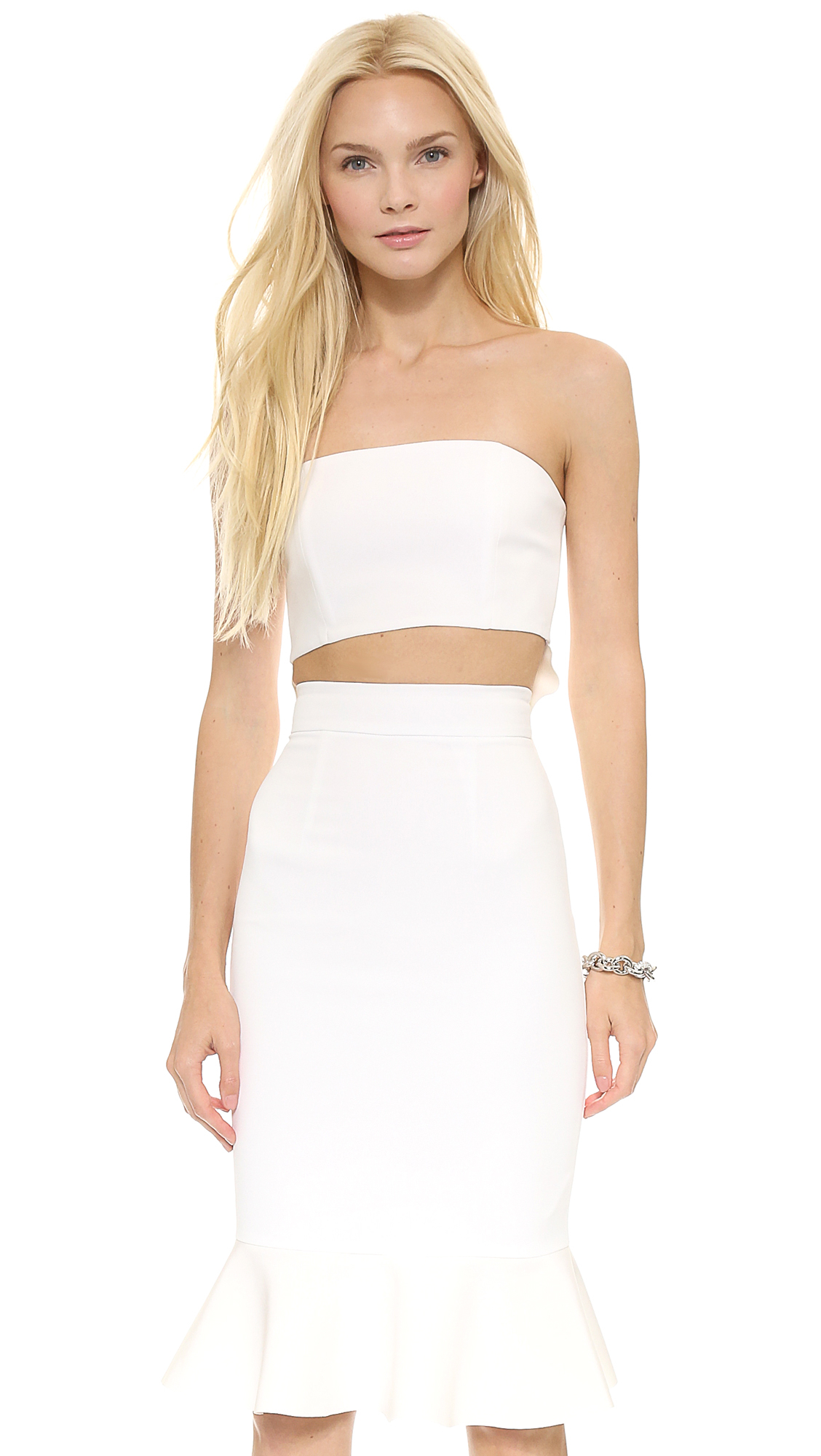 Lyst - Nicholas Crepe Flared Bustier Top - White in White