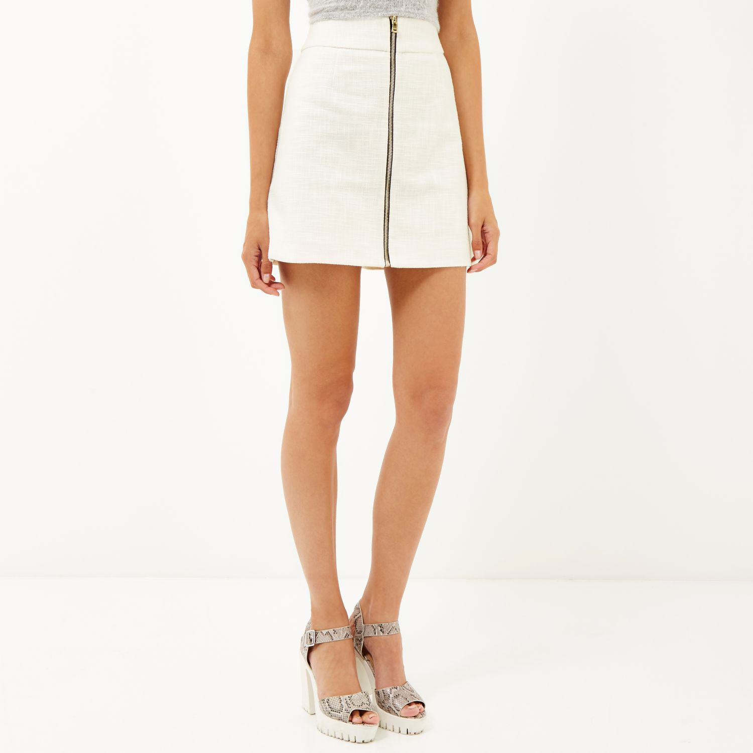 River island White Tweed Zip Front A-line Skirt in White | Lyst