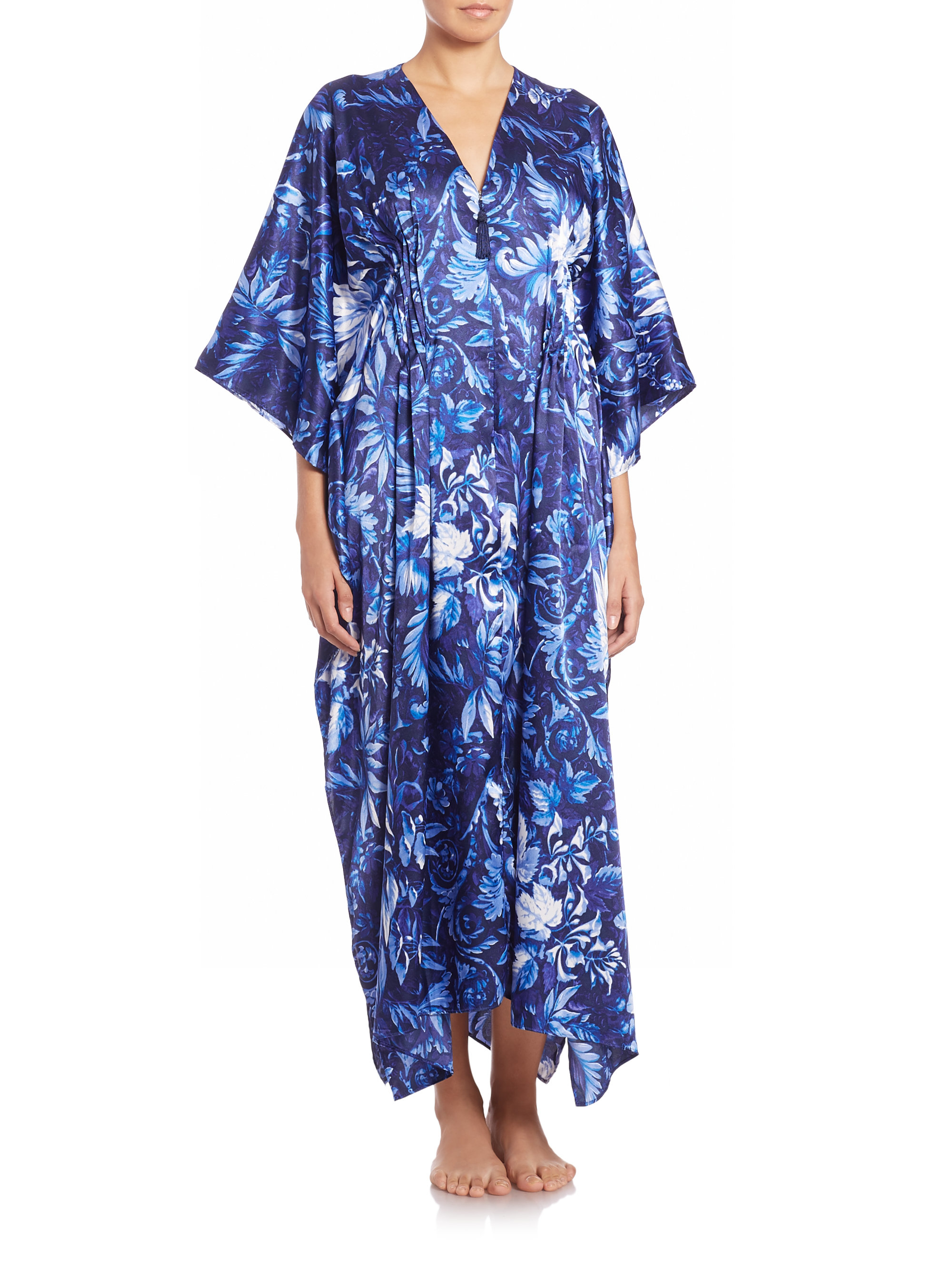 Oscar de la renta midnight vines satin caftan in blue lyst for Caftan avec satin de chaise