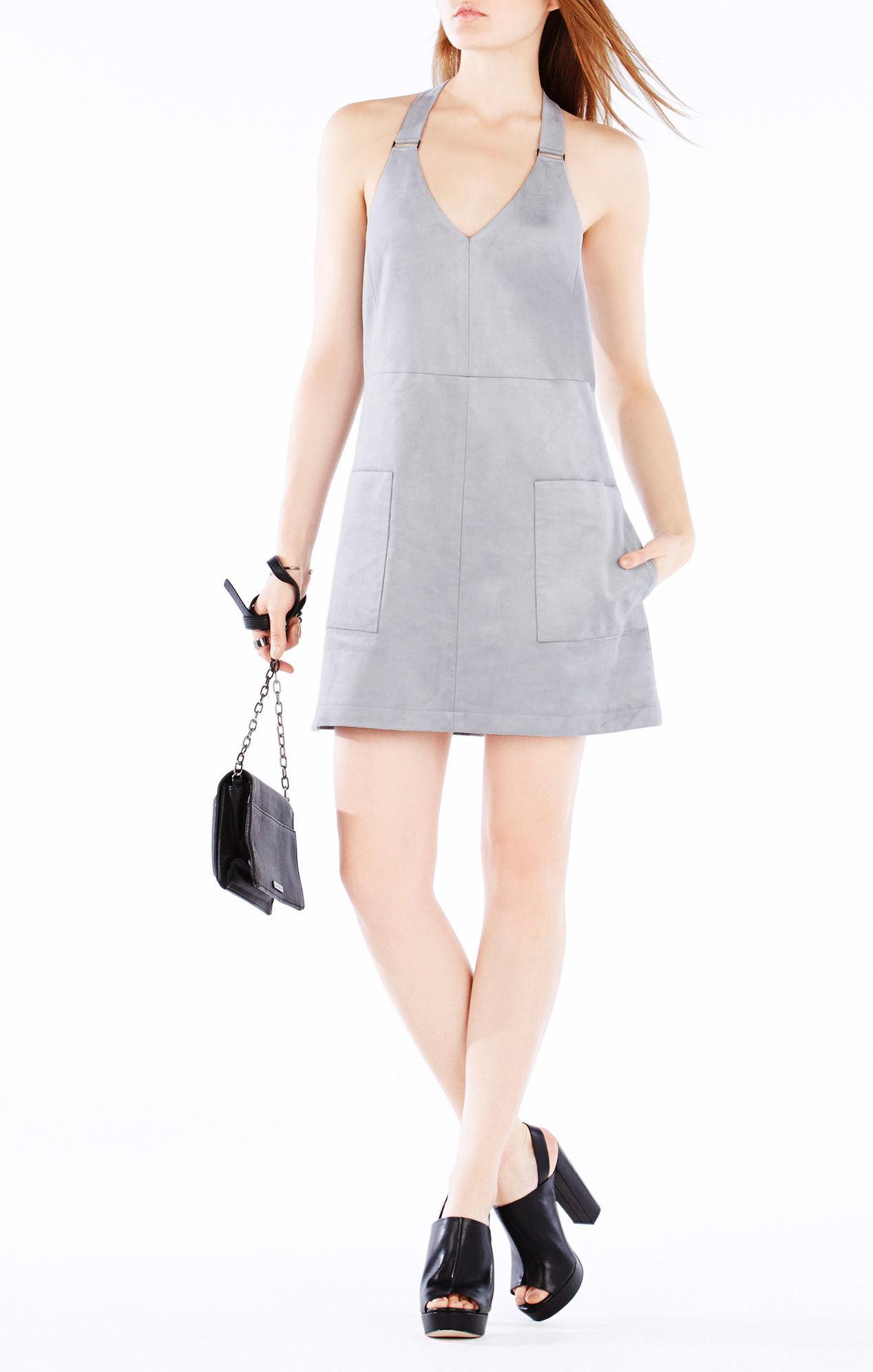 Lyst Bcbgmaxazria Abbott Faux Suede Dress In Gray