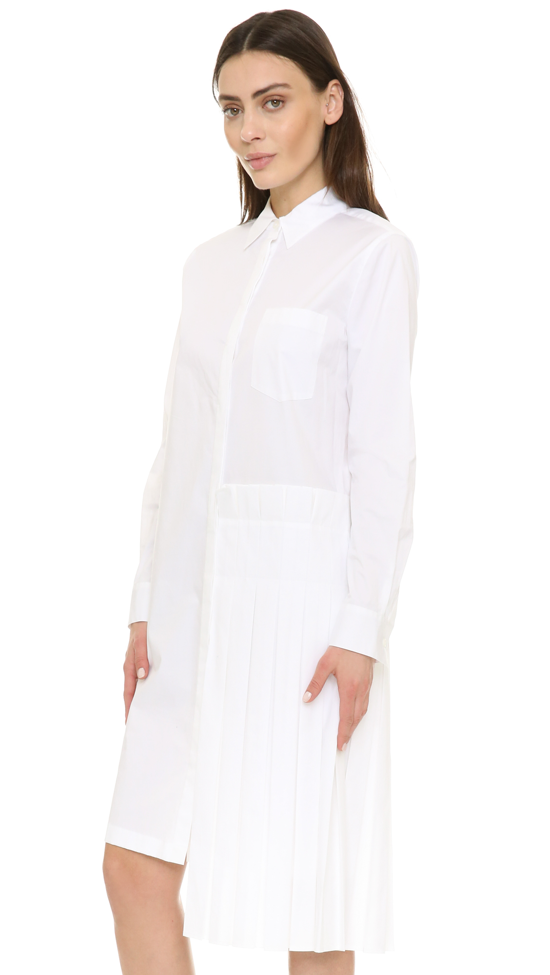 Lyst Dkny Shirtdress With Pleated Skirt In White