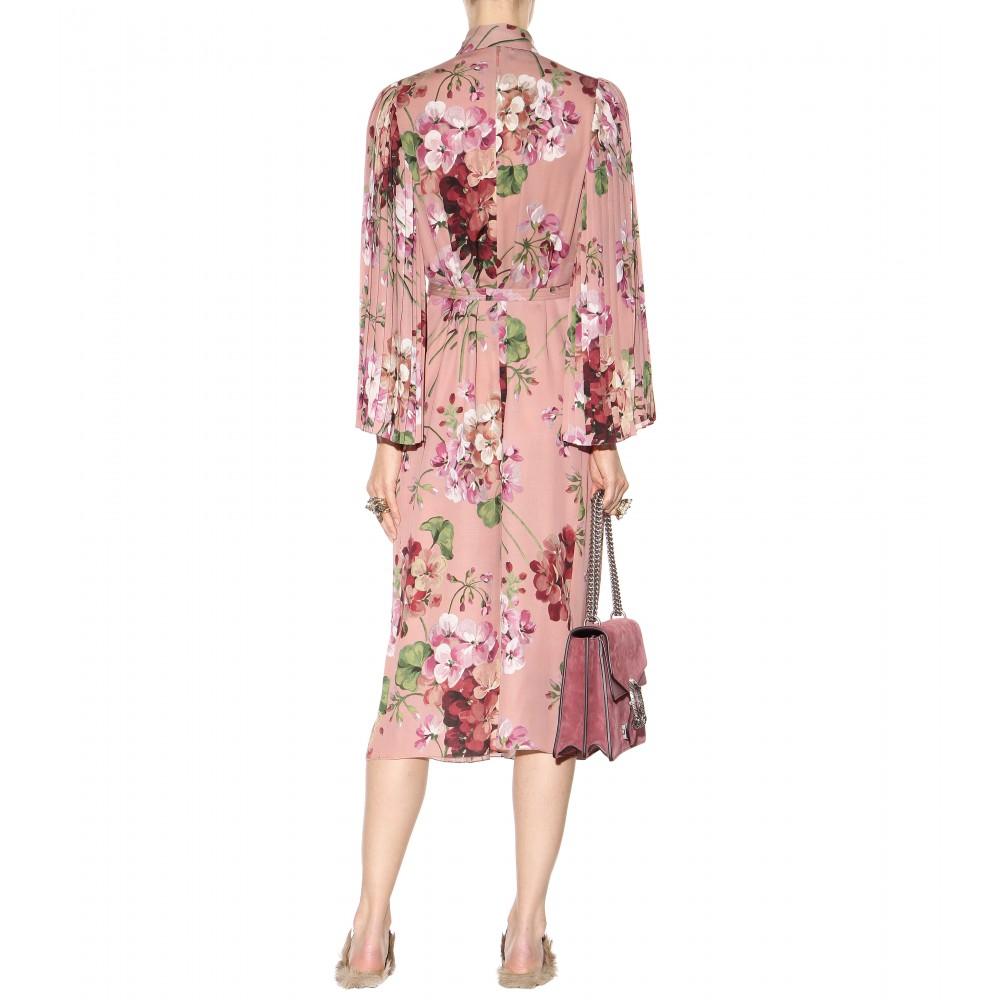 Gucci Floral Printed Silk Dress Lyst