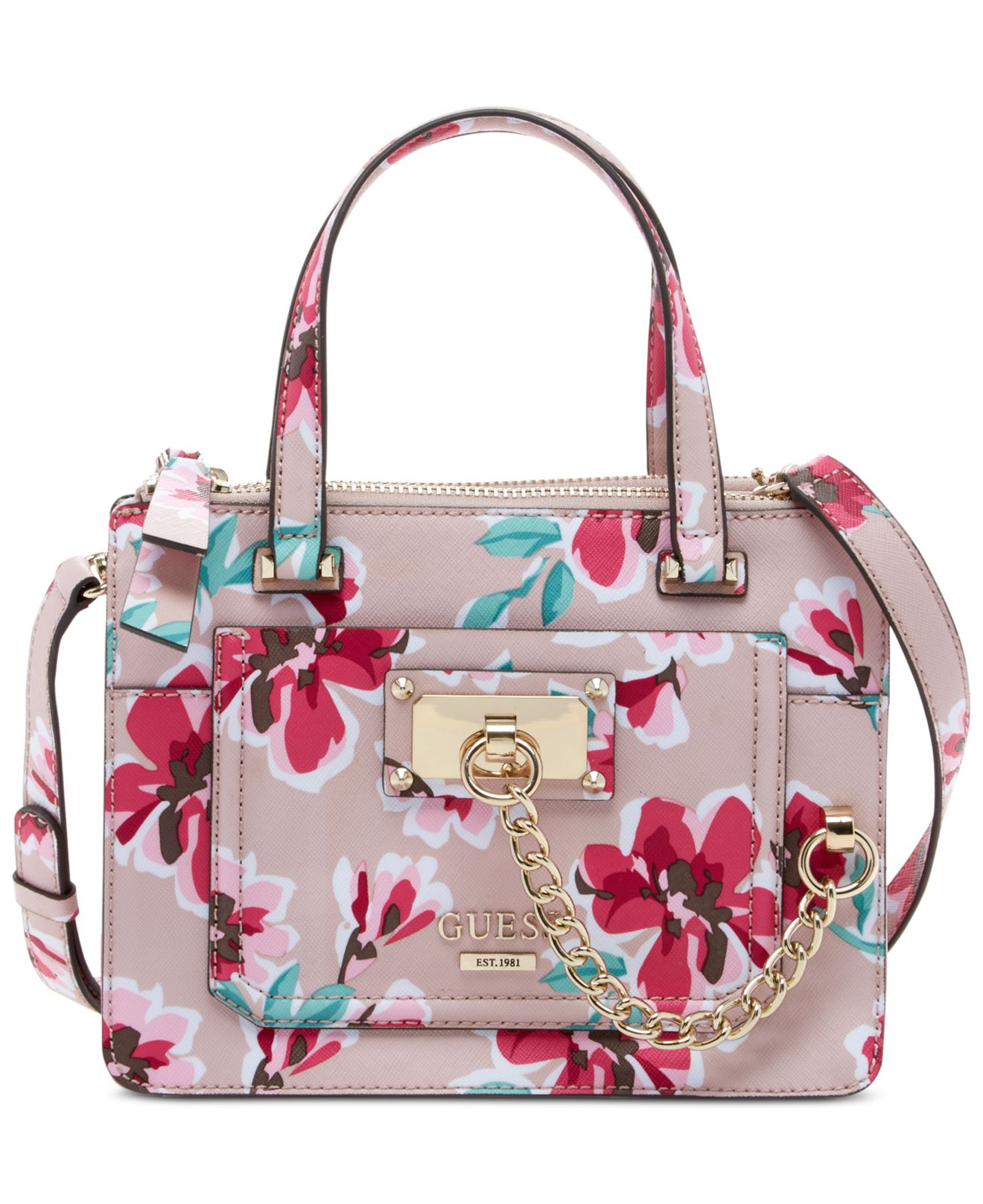 Lyst Guess Fet Me Not Little Status Satchel Fl Bag