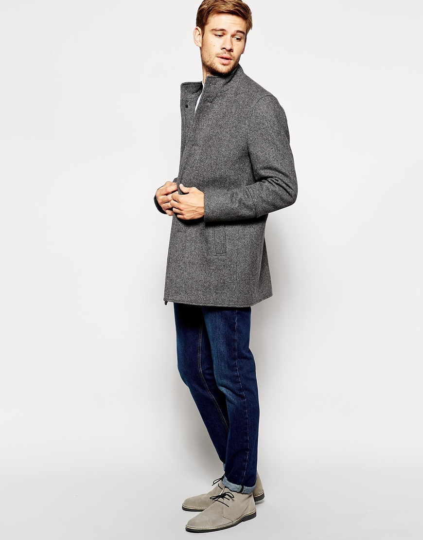 Selected Wool Coat With Funnel Neck in Gray for Men | Lyst