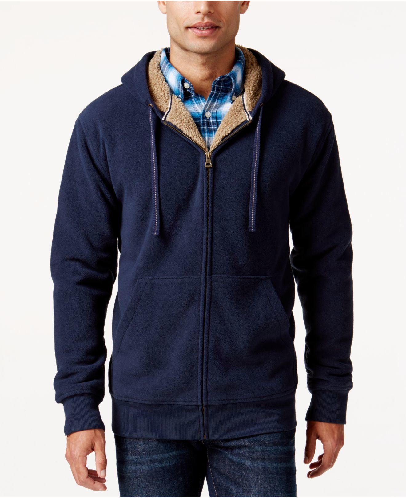 Weatherproof Vintage Hooded Sherpa Fleece Sweater Jacket in Blue ...