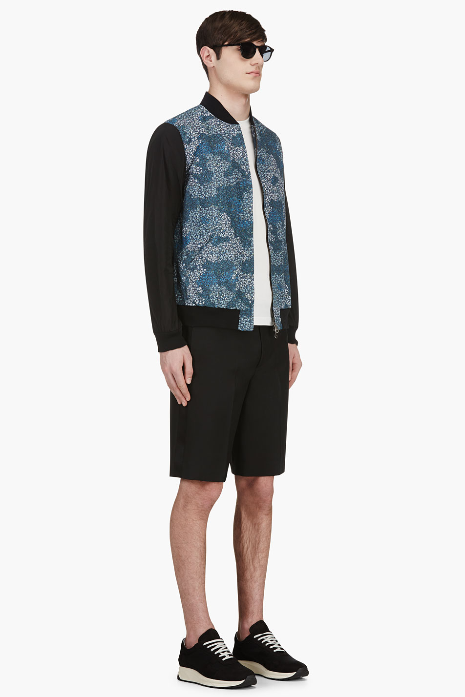 Bomber Jacket With Floral Sleeves