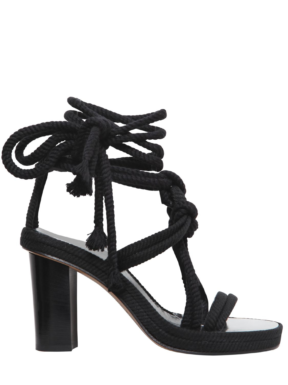 1f78b3a7fadf Isabel Marant 85mm Miana Cotton Rope Wrap Sandals in Black - Lyst