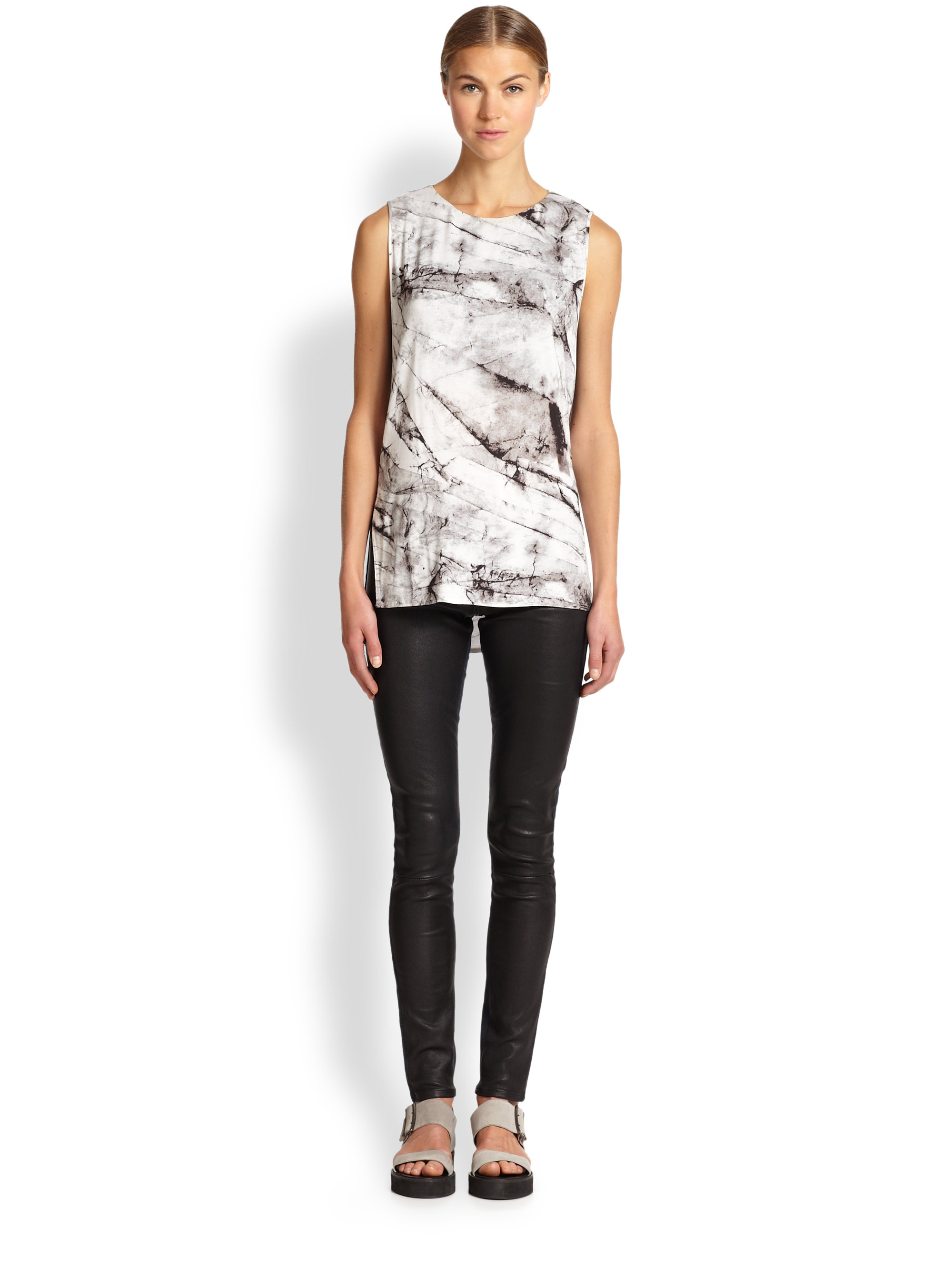 Helmut lang Form Denim & Leather Leggings in Black | Lyst