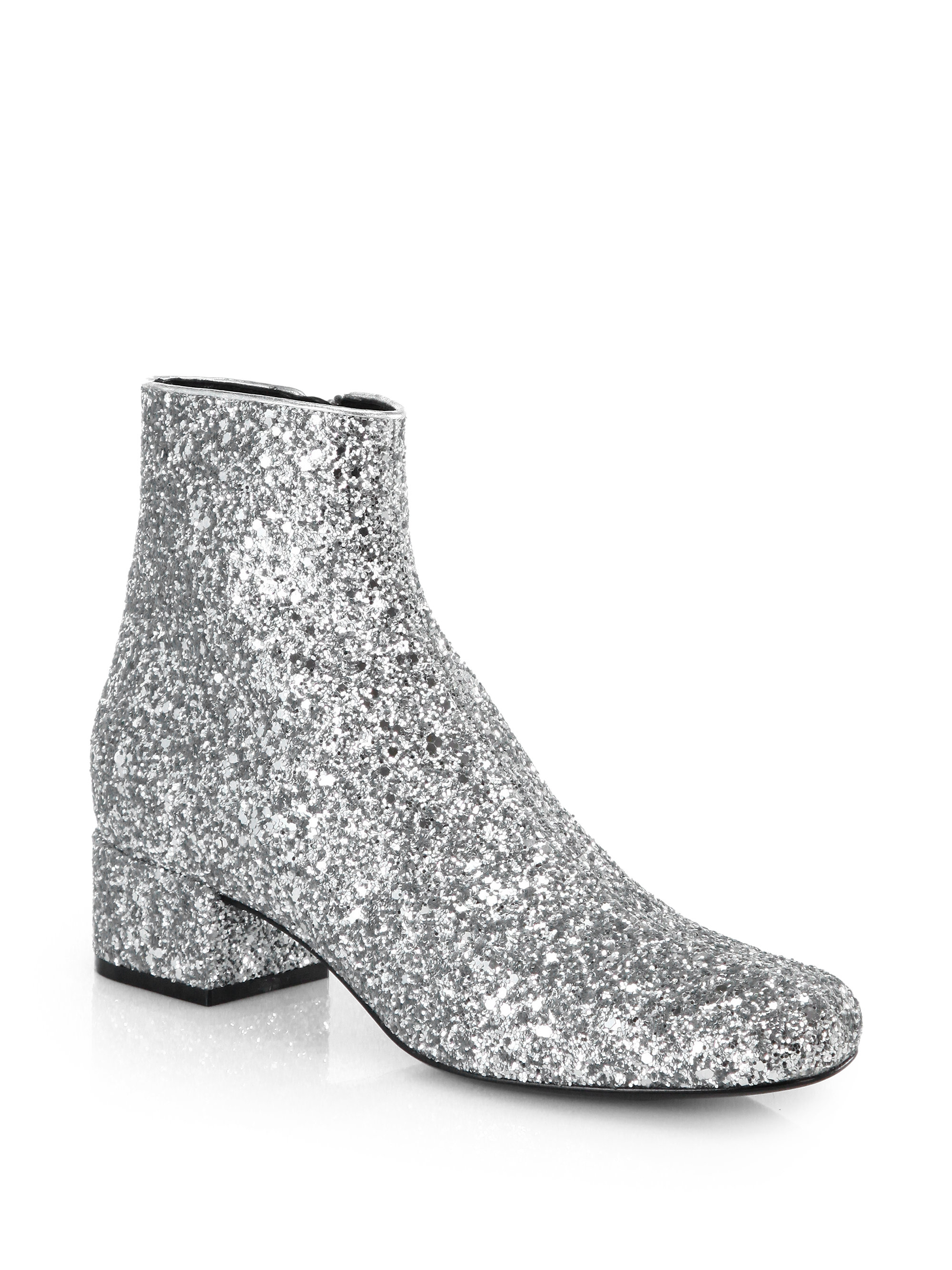 laurent glitter leather ankle boots in silver