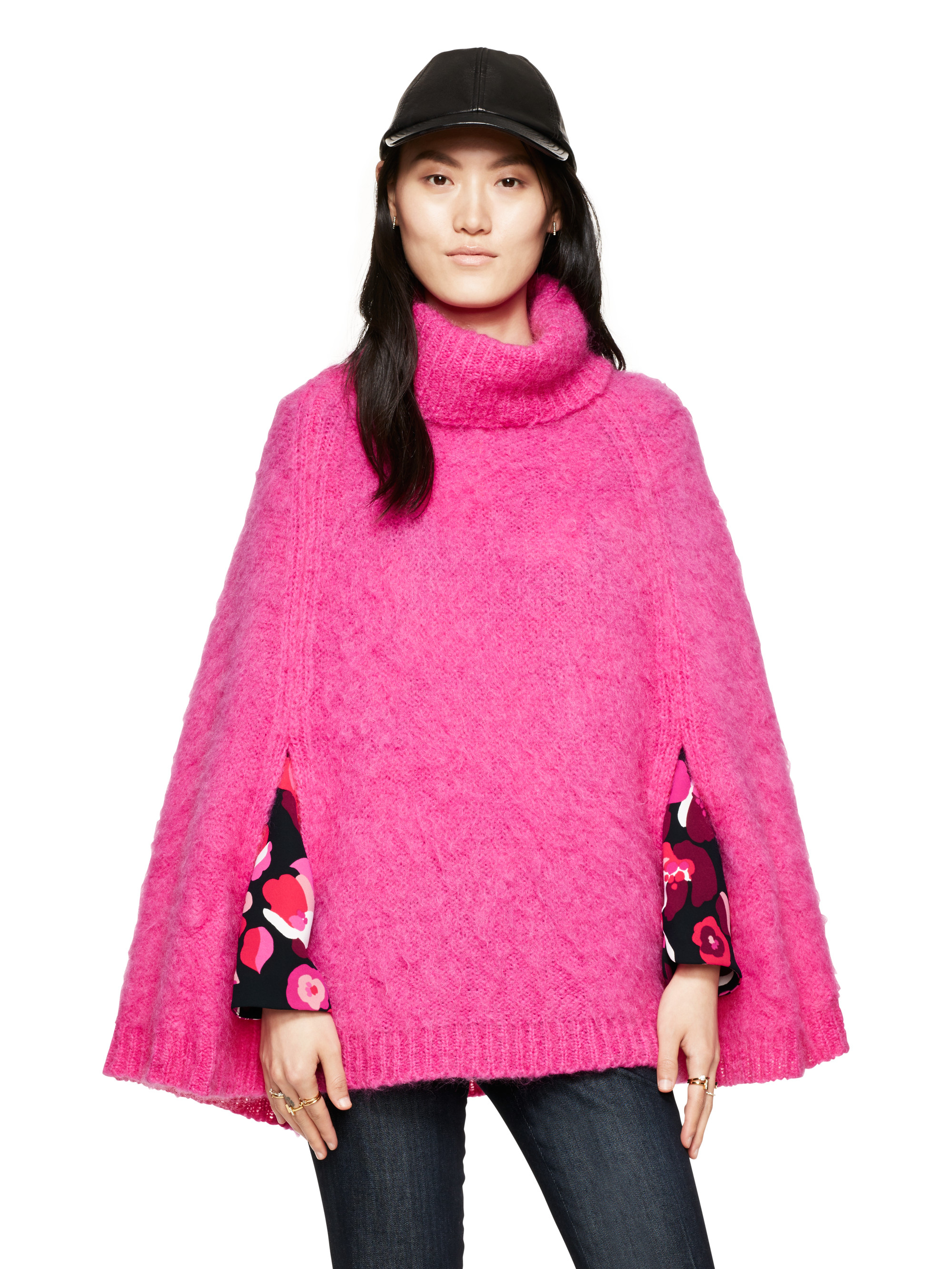 Kate spade new york Chunky Knit Sweater Cape in Pink | Lyst