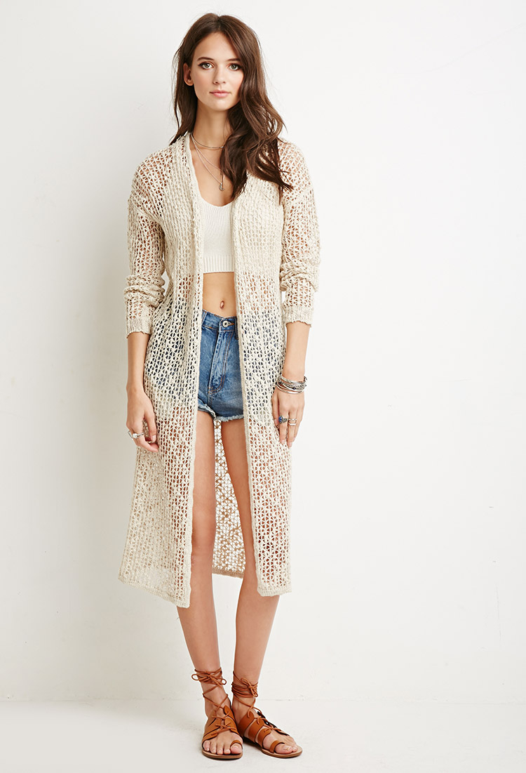 Forever 21 Open Knit Longline Cardigan in Natural   Lyst