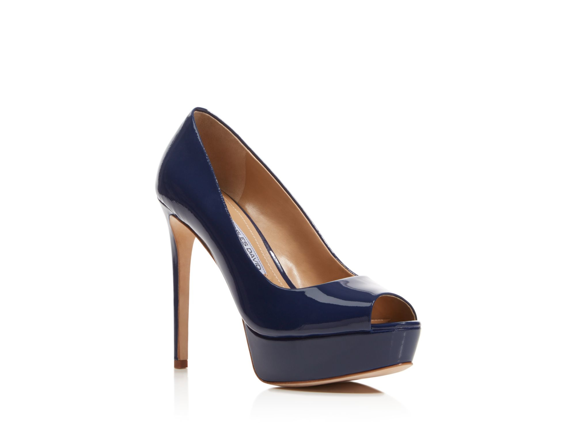 Navy Blue Peep Toe Shoes High Heels - Js Heel