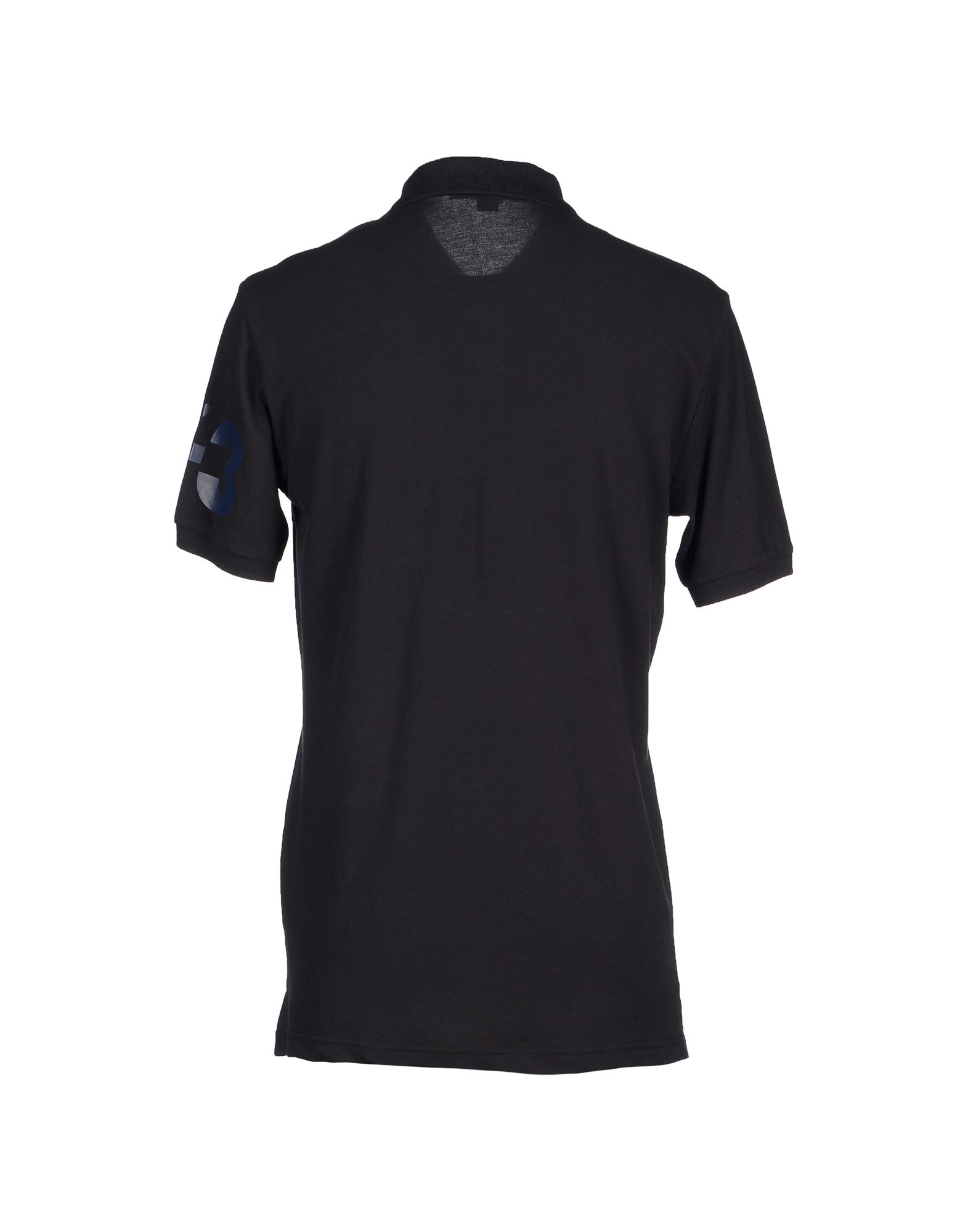 Y 3 logo cotton polo shirt in black for men lyst for Cotton polo shirts with logo