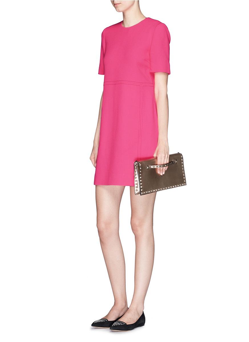 Victoria Victoria Beckham Wool Crepe Shift Dress In Pink