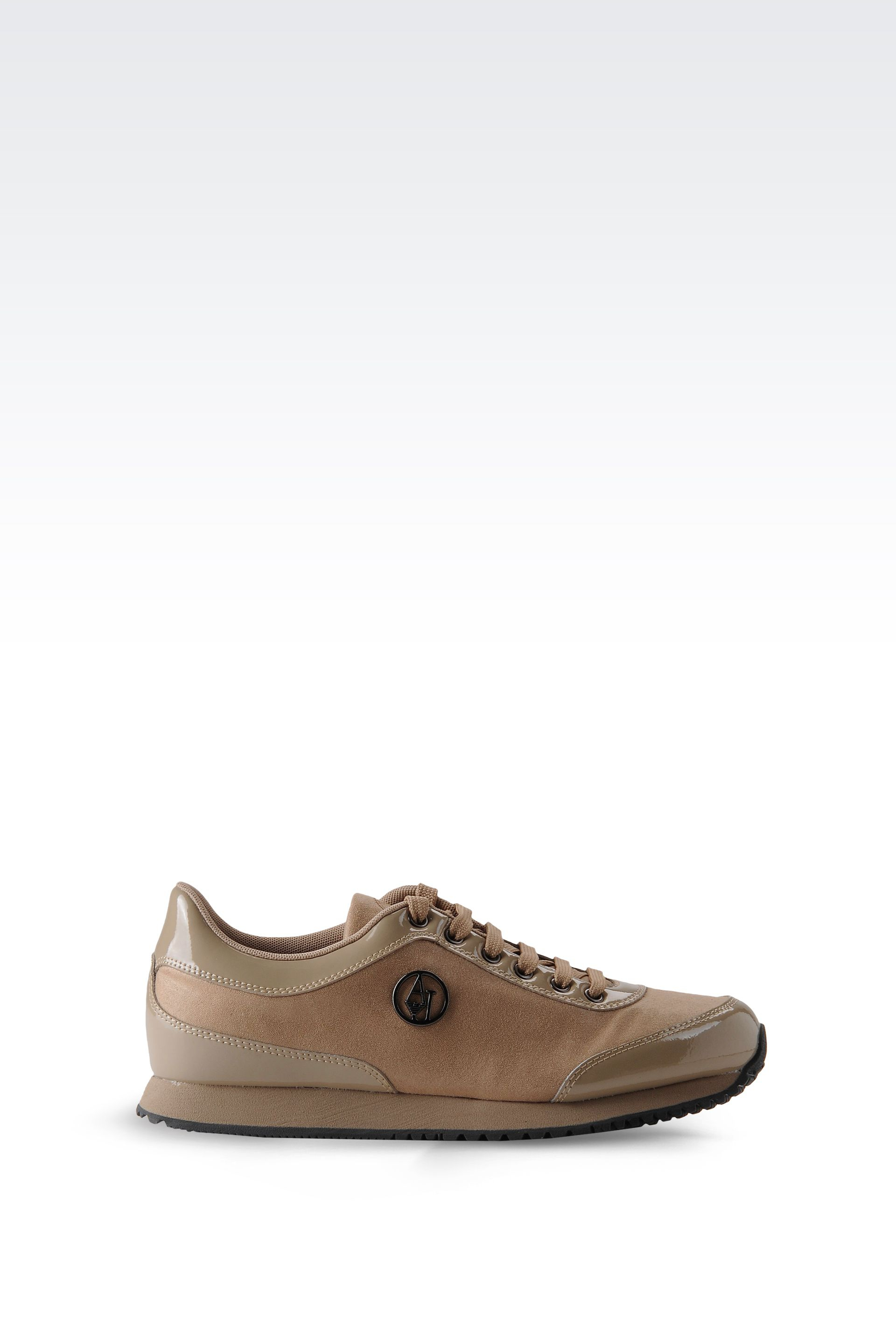 armani jeans fabric sneaker with patent details in natural lyst. Black Bedroom Furniture Sets. Home Design Ideas