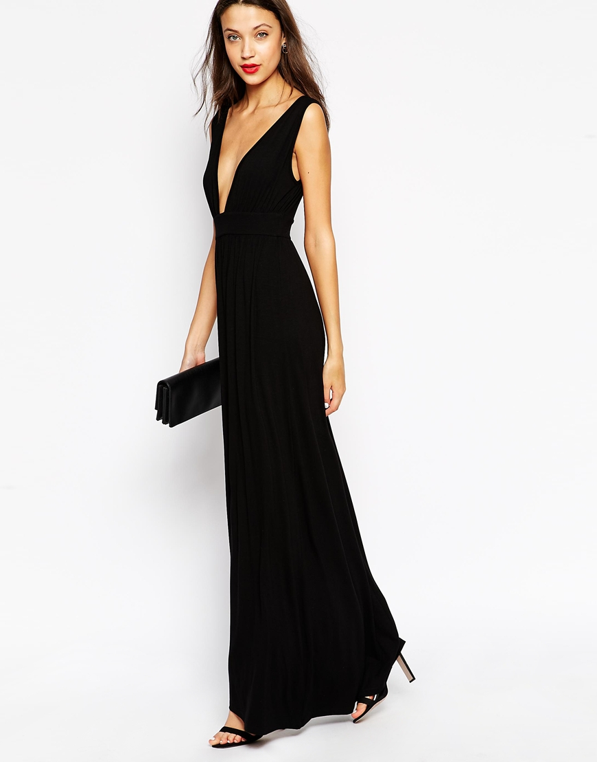 Asos Tall Plunge Front Maxi Dress in Black | Lyst