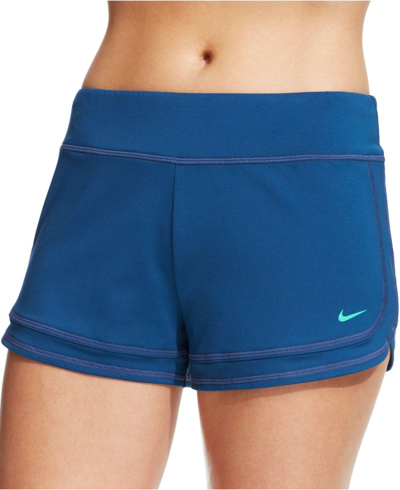 Lyst - Nike Logo Coverup Swim Shorts in Blue 6bcdacd19f