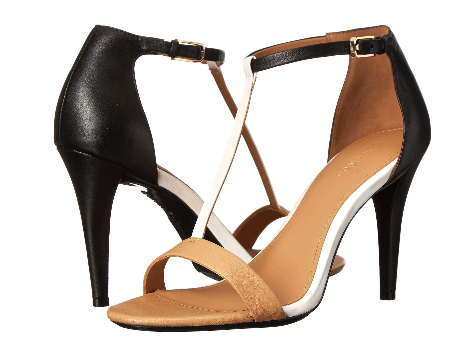 Womens Sandals Calvin Klein Nasi Sand Gold/Parch White Nappa