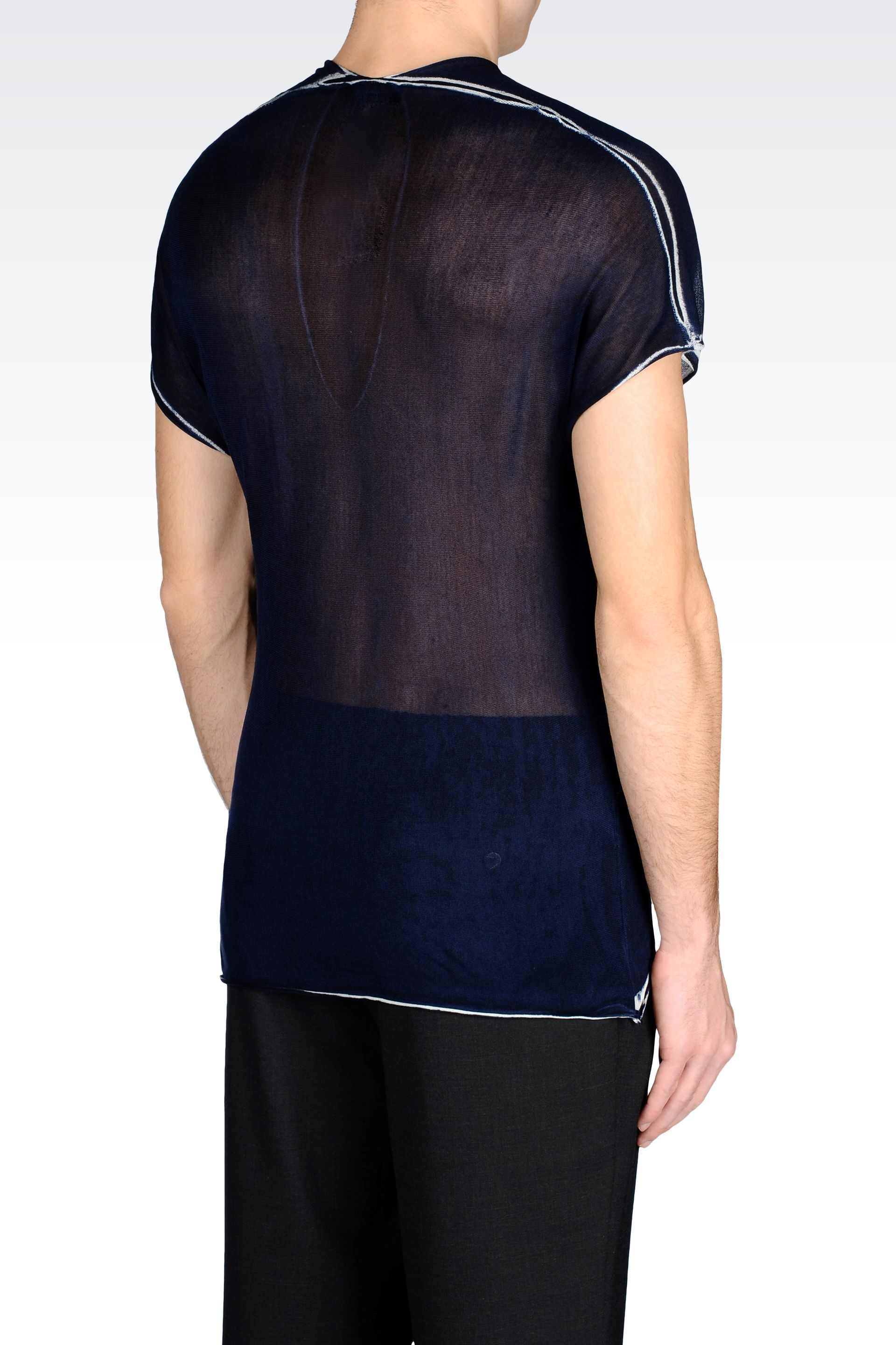 emporio armani runway t shirt in silk in blue for men lyst. Black Bedroom Furniture Sets. Home Design Ideas