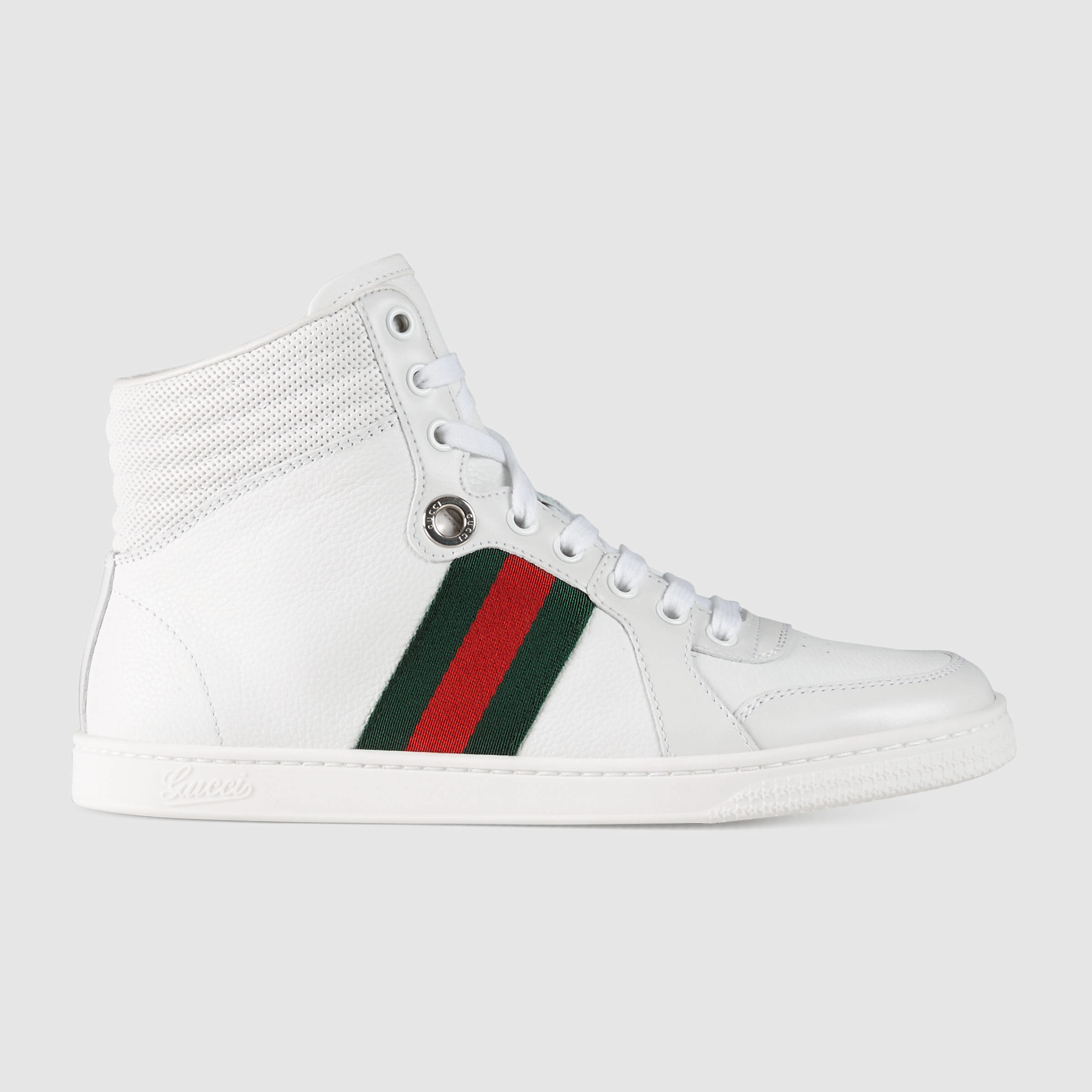 gucci leather high top sneaker in green white leather lyst. Black Bedroom Furniture Sets. Home Design Ideas