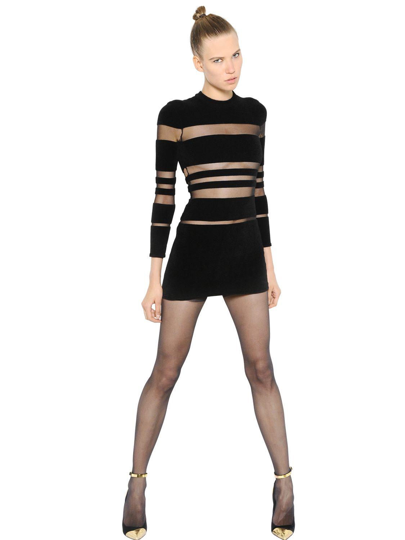 Lyst Balmain Striped Chenille Amp Mesh Dress In Black