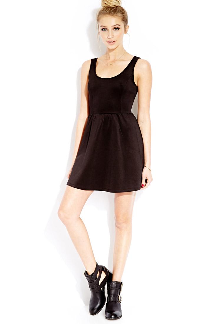 Forever 21 Must-Have Scuba Skater Dress in Black | Lyst