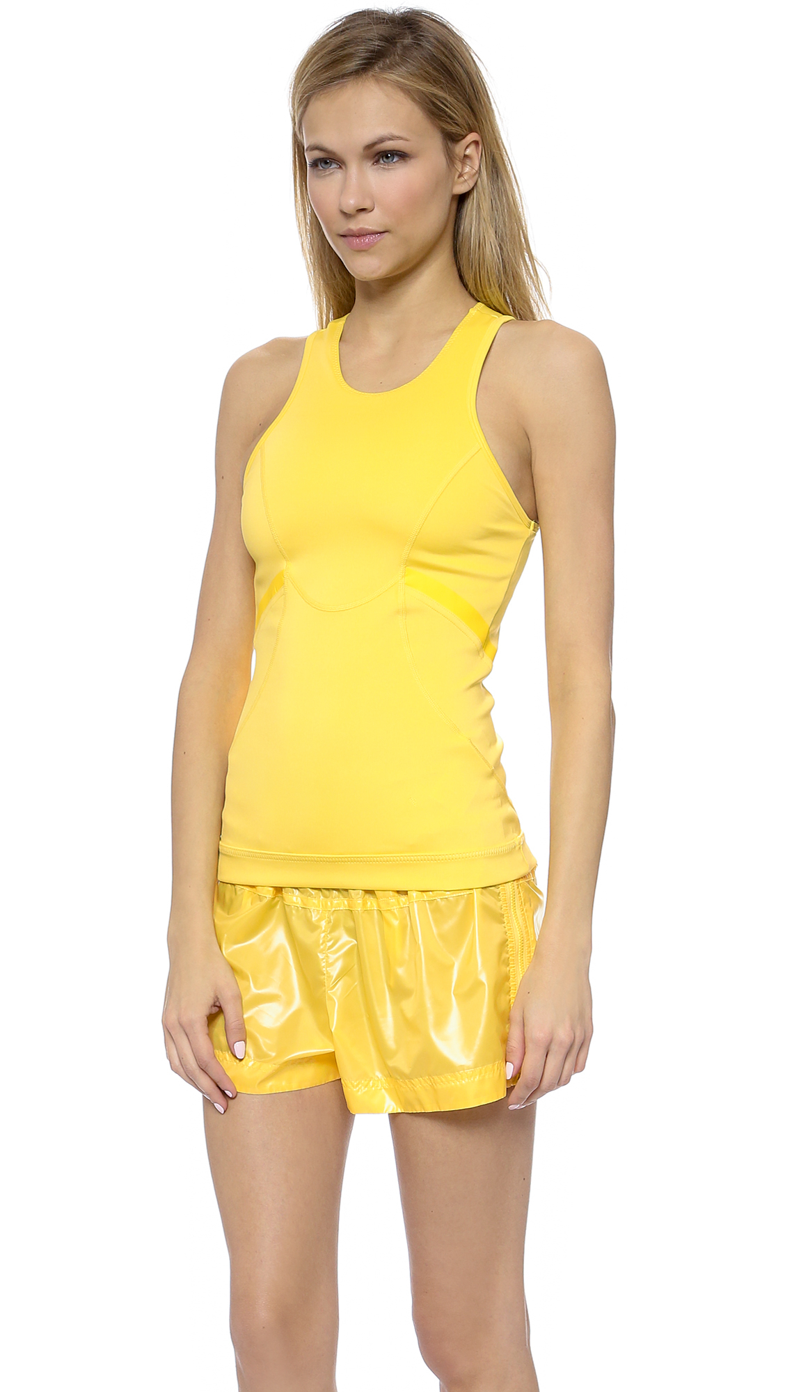 lyst adidas by stella mccartney run perf tank top glow yellow in yellow. Black Bedroom Furniture Sets. Home Design Ideas
