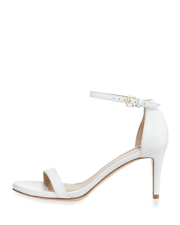 Stuart weitzman Nunaked Leather Mid-heel Sandal in White  Lyst