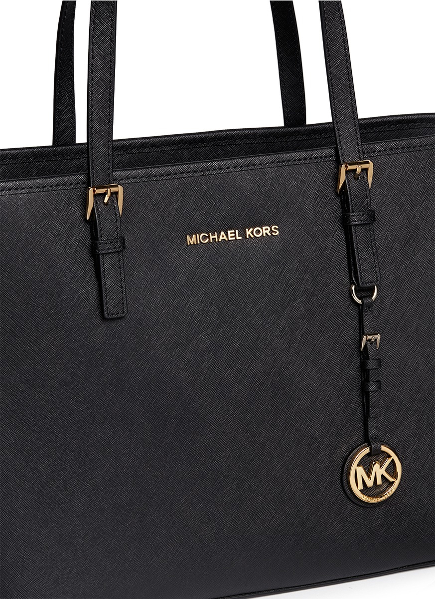 3df2a28f66c3ae Michael Kors 'jet Set Travel' Saffiano Leather Top Zip Tote in Black ...