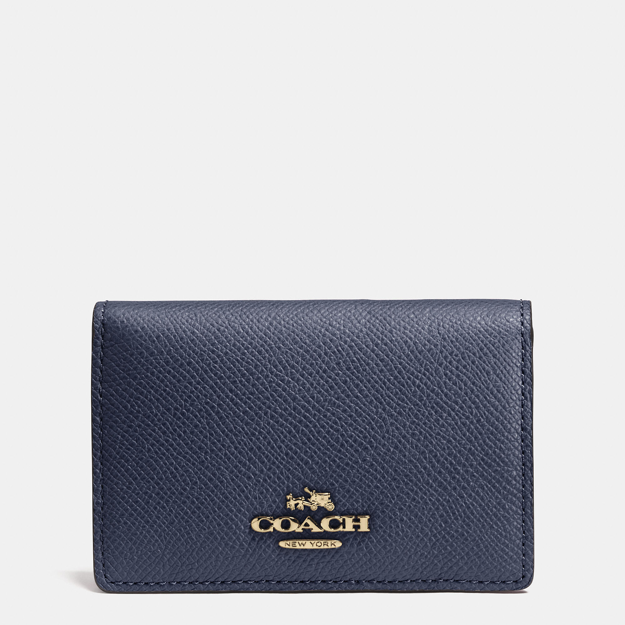Lyst - Coach Business Card Case In Crossgrain Leather in Blue