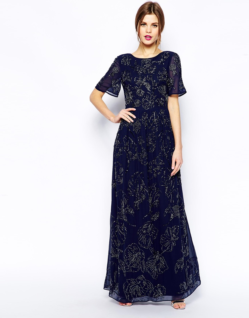 Asos Premium Maxi Dress With All Over Floral Embellishment ...