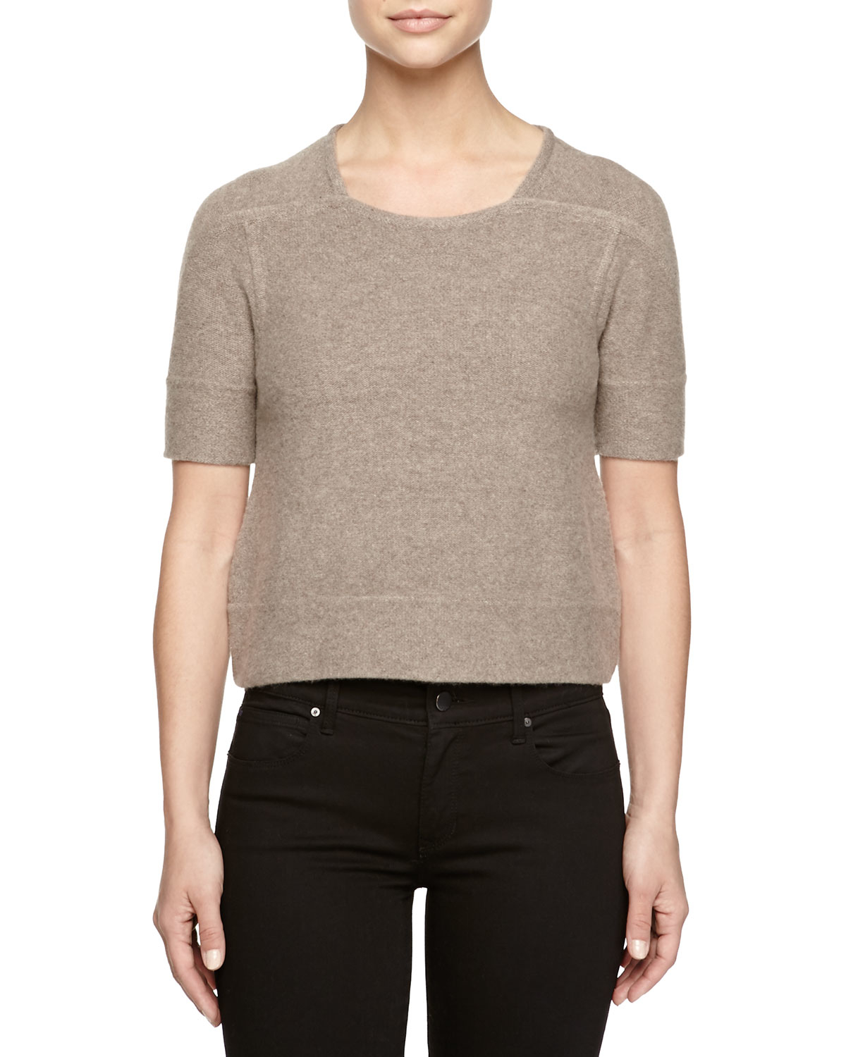 stella mccartney short sleeve wool cashmere pullover in. Black Bedroom Furniture Sets. Home Design Ideas