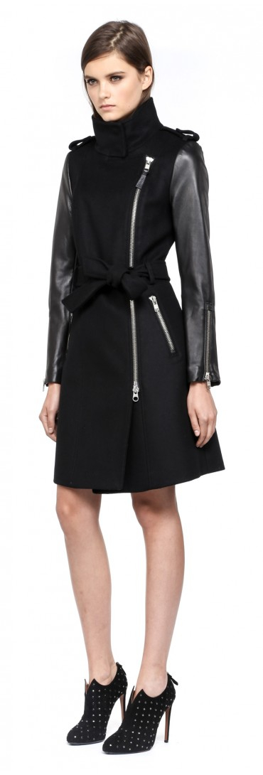 Mackage Dale-F4 Long Black Winter Wool Coat With Leather Sleeves ...