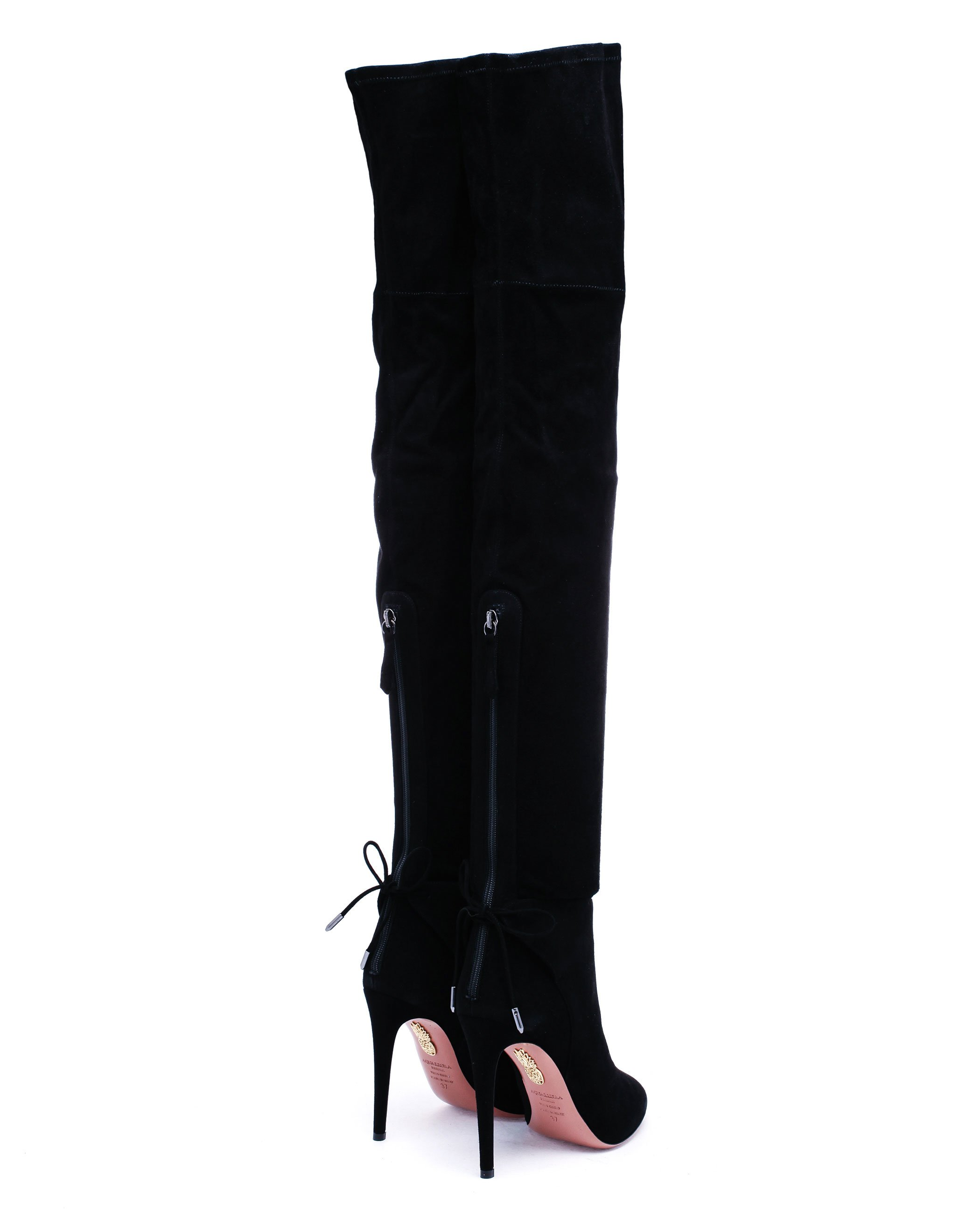 8256cf77a0c Aquazzura Giselle Cuissard Thigh High Suede Boots in Black - Lyst