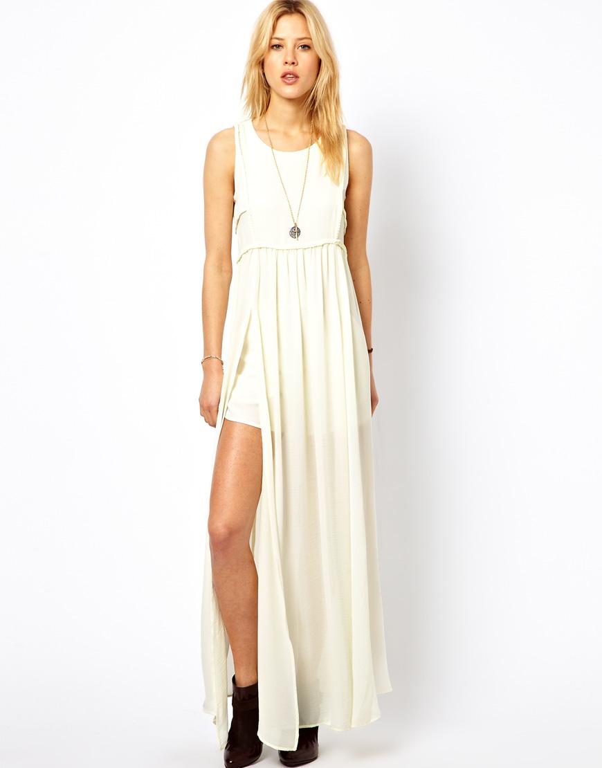 Mango maxi dress with thigh split white dress