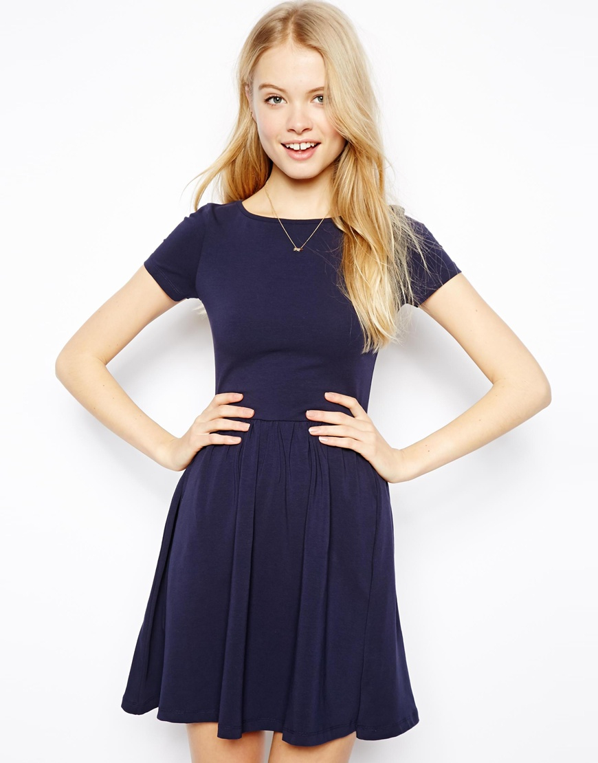Asos Skater Dress With Slash Neck And Short Sleeves in Blue - Lyst